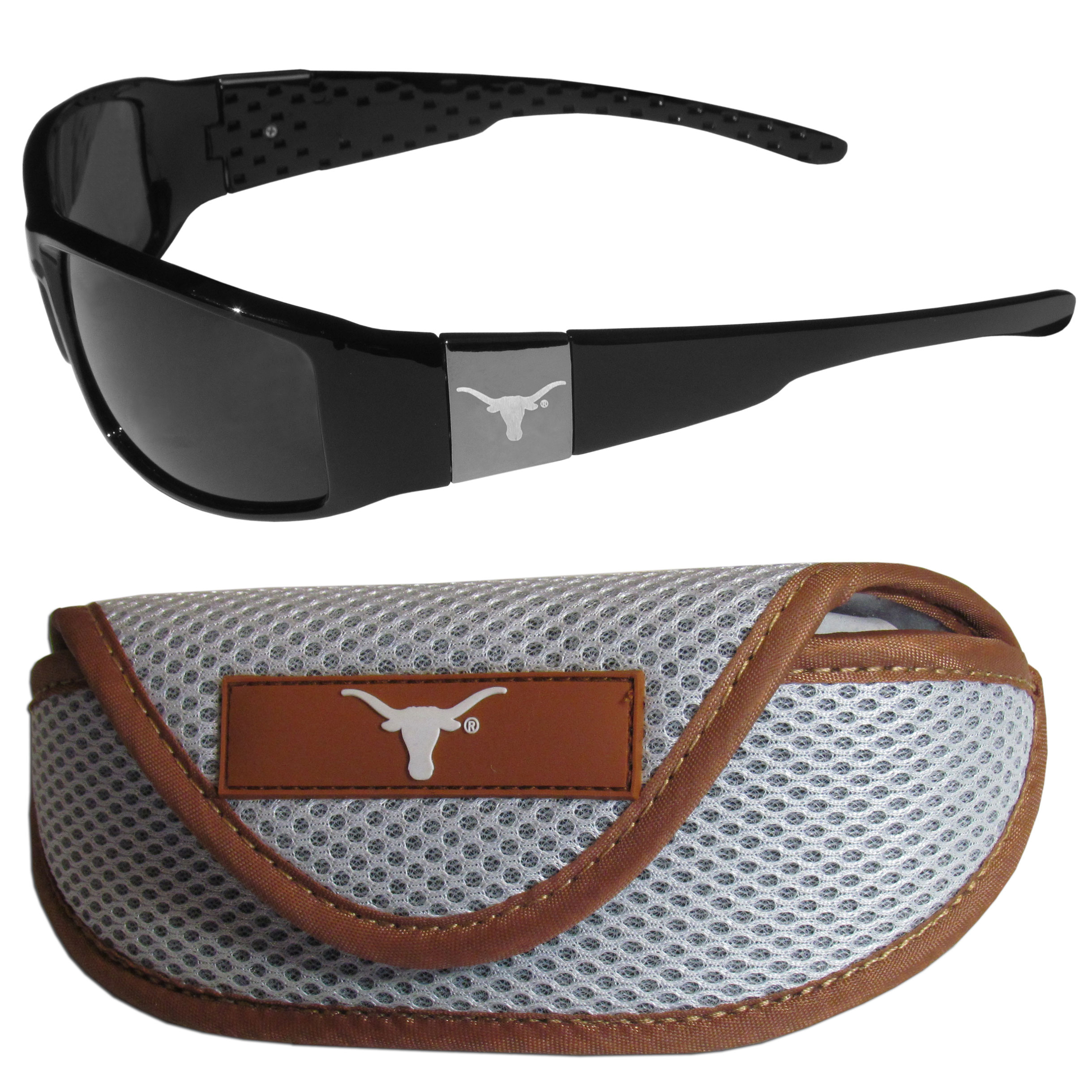 Texas Longhorns Chrome Wrap Sunglasses and Sport Carrying Case - These designer inspired frames have a sleek look in all black with high-polish chrome Texas Longhorns shields on each arm with an etched logo. The shades are perfect any outdoor activity like; golfing, driving, hiking, fishing or cheering on the team at a tailgating event or an at home game day BBQ with a lens rating of 100% UVA/UVB for maximum UV protection. The high-quality frames are as durable as they are fashionable and with their classic look they are perfect fan accessory that can be worn everyday for every occasion. The shades come with a zippered hard shell case to keep your sunglasses safe.