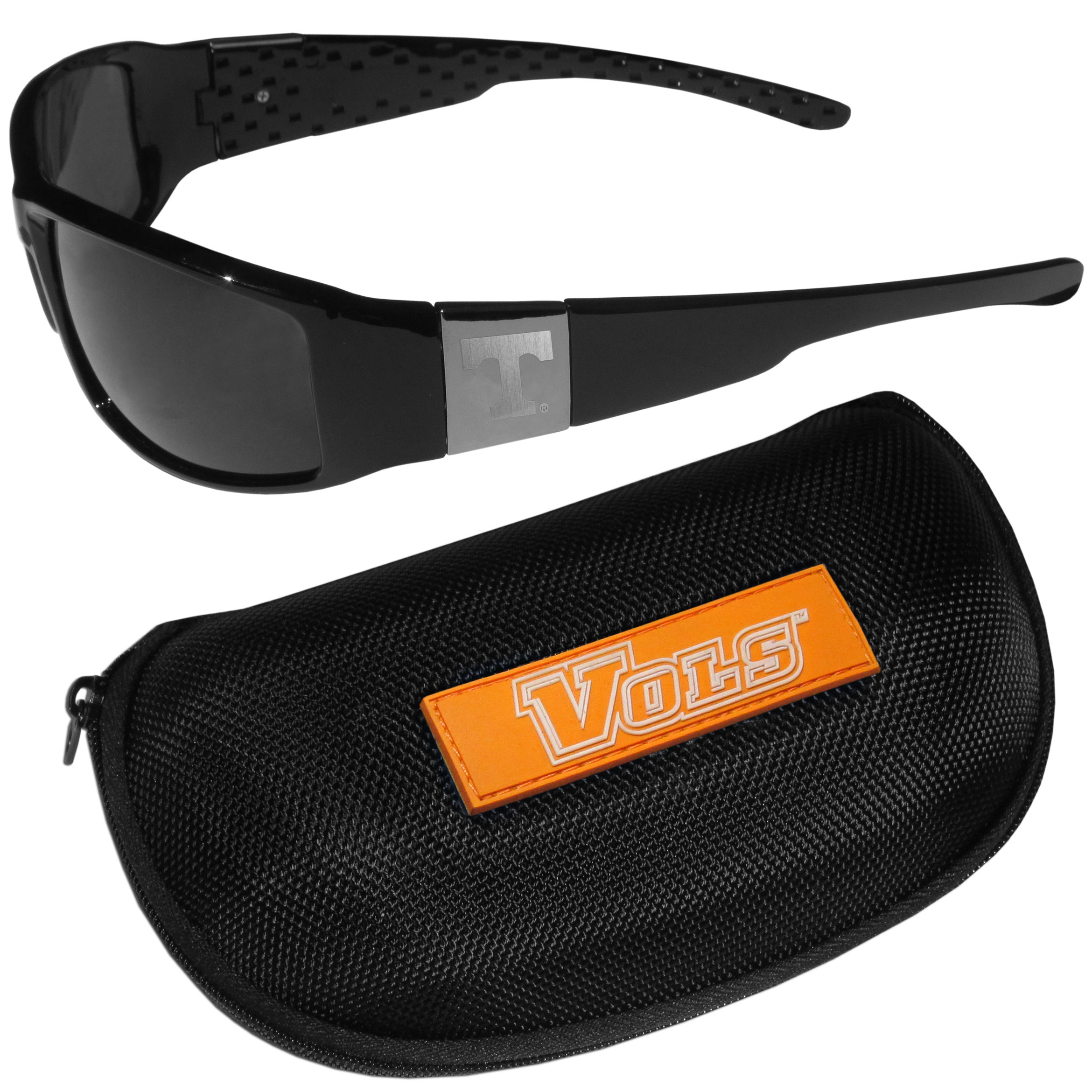 Tennessee Volunteers Chrome Wrap Sunglasses and Zippered Carrying Case - These designer inspired frames have a sleek look in all black with high-polish chrome Tennessee Volunteers shields on each arm with an etched logo. The shades are perfect any outdoor activity like; golfing, driving, hiking, fishing or cheering on the team at a tailgating event or an at home game day BBQ with a lens rating of 100% UVA/UVB for maximum UV protection. The high-quality frames are as durable as they are fashionable and with their classic look they are perfect fan accessory that can be worn everyday for every occasion. The shades come with a zippered hard shell case to keep your sunglasses safe.