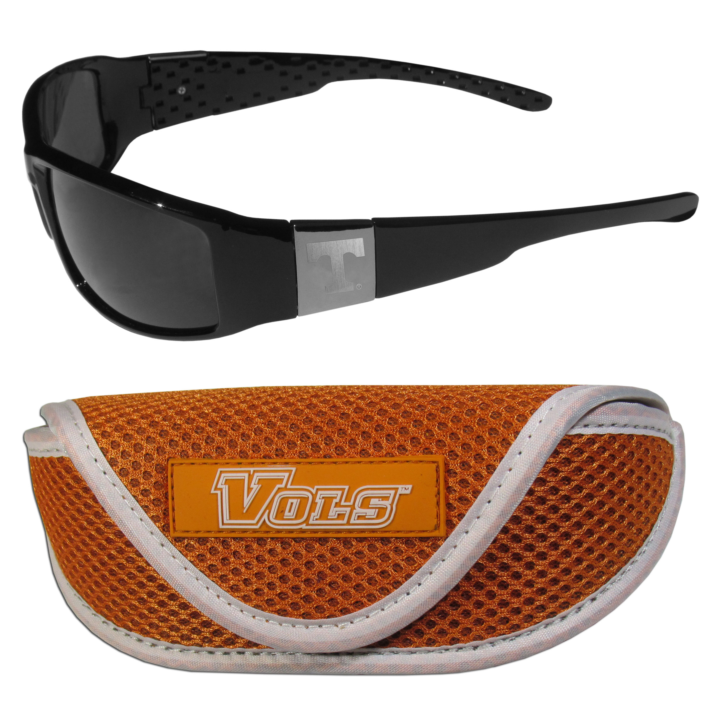 Tennessee Volunteers Chrome Wrap Sunglasses and Sport Carrying Case - These designer inspired frames have a sleek look in all black with high-polish chrome Tennessee Volunteers shields on each arm with an etched logo. The shades are perfect any outdoor activity like; golfing, driving, hiking, fishing or cheering on the team at a tailgating event or an at home game day BBQ with a lens rating of 100% UVA/UVB for maximum UV protection. The high-quality frames are as durable as they are fashionable and with their classic look they are perfect fan accessory that can be worn everyday for every occasion. The shades come with a zippered hard shell case to keep your sunglasses safe.