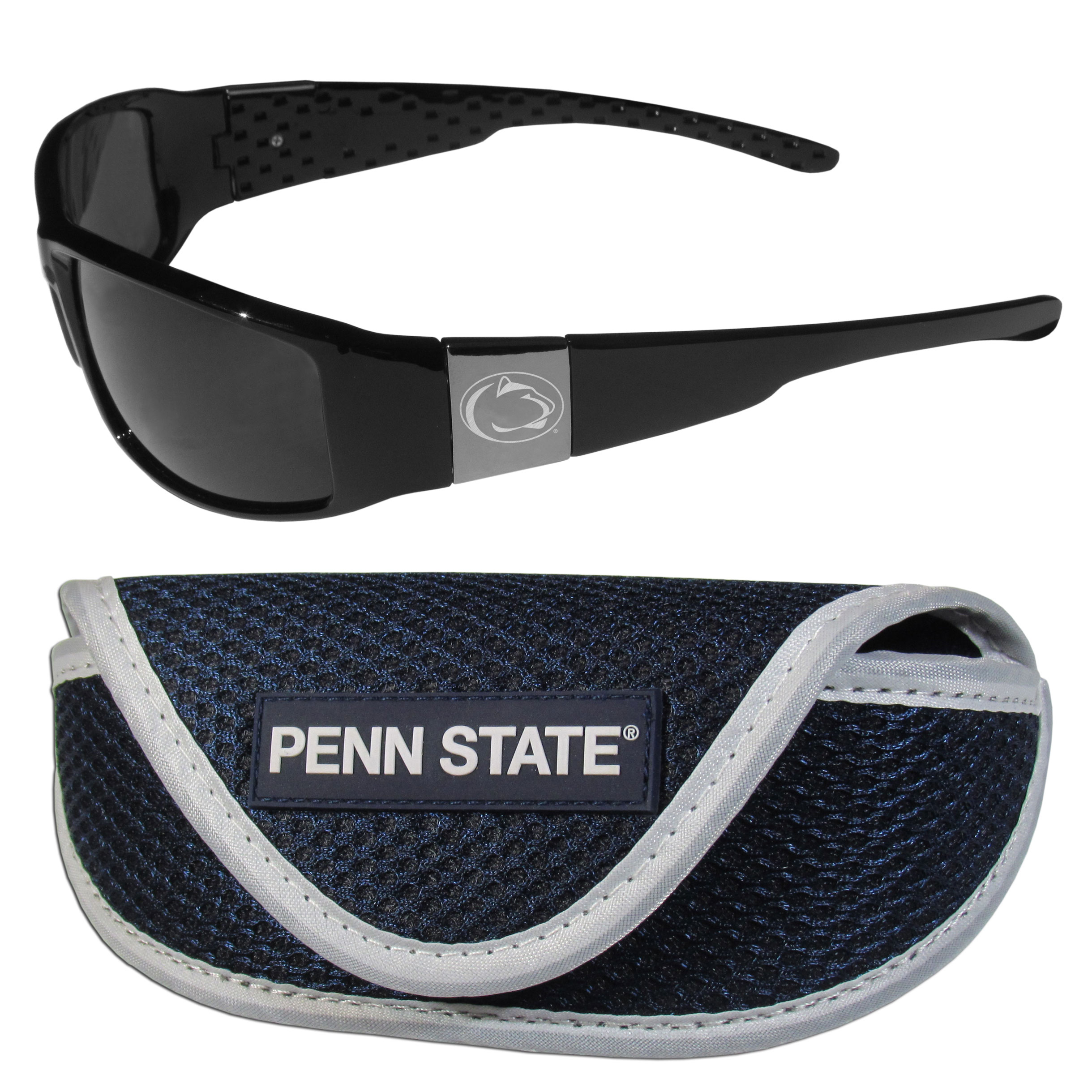 Penn St. Nittany Lions Chrome Wrap Sunglasses and Sport Carrying Case - These designer inspired frames have a sleek look in all black with high-polish chrome Penn St. Nittany Lions shields on each arm with an etched logo. The shades are perfect any outdoor activity like; golfing, driving, hiking, fishing or cheering on the team at a tailgating event or an at home game day BBQ with a lens rating of 100% UVA/UVB for maximum UV protection. The high-quality frames are as durable as they are fashionable and with their classic look they are perfect fan accessory that can be worn everyday for every occasion. The shades come with a zippered hard shell case to keep your sunglasses safe.