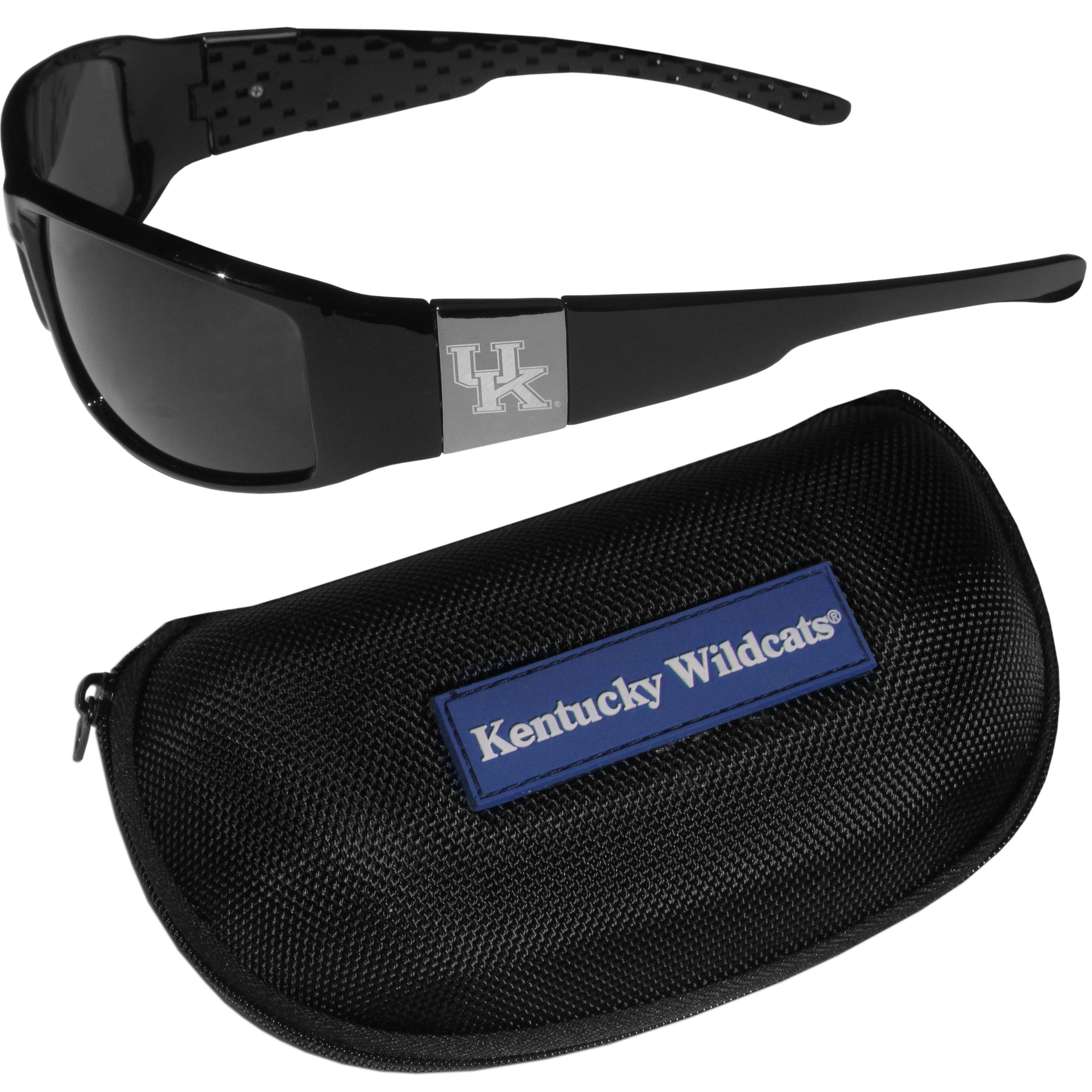 Kentucky Wildcats Chrome Wrap Sunglasses and Zippered Carrying Case - These designer inspired frames have a sleek look in all black with high-polish chrome Kentucky Wildcats shields on each arm with an etched logo. The shades are perfect any outdoor activity like; golfing, driving, hiking, fishing or cheering on the team at a tailgating event or an at home game day BBQ with a lens rating of 100% UVA/UVB for maximum UV protection. The high-quality frames are as durable as they are fashionable and with their classic look they are perfect fan accessory that can be worn everyday for every occasion. The shades come with a zippered hard shell case to keep your sunglasses safe.