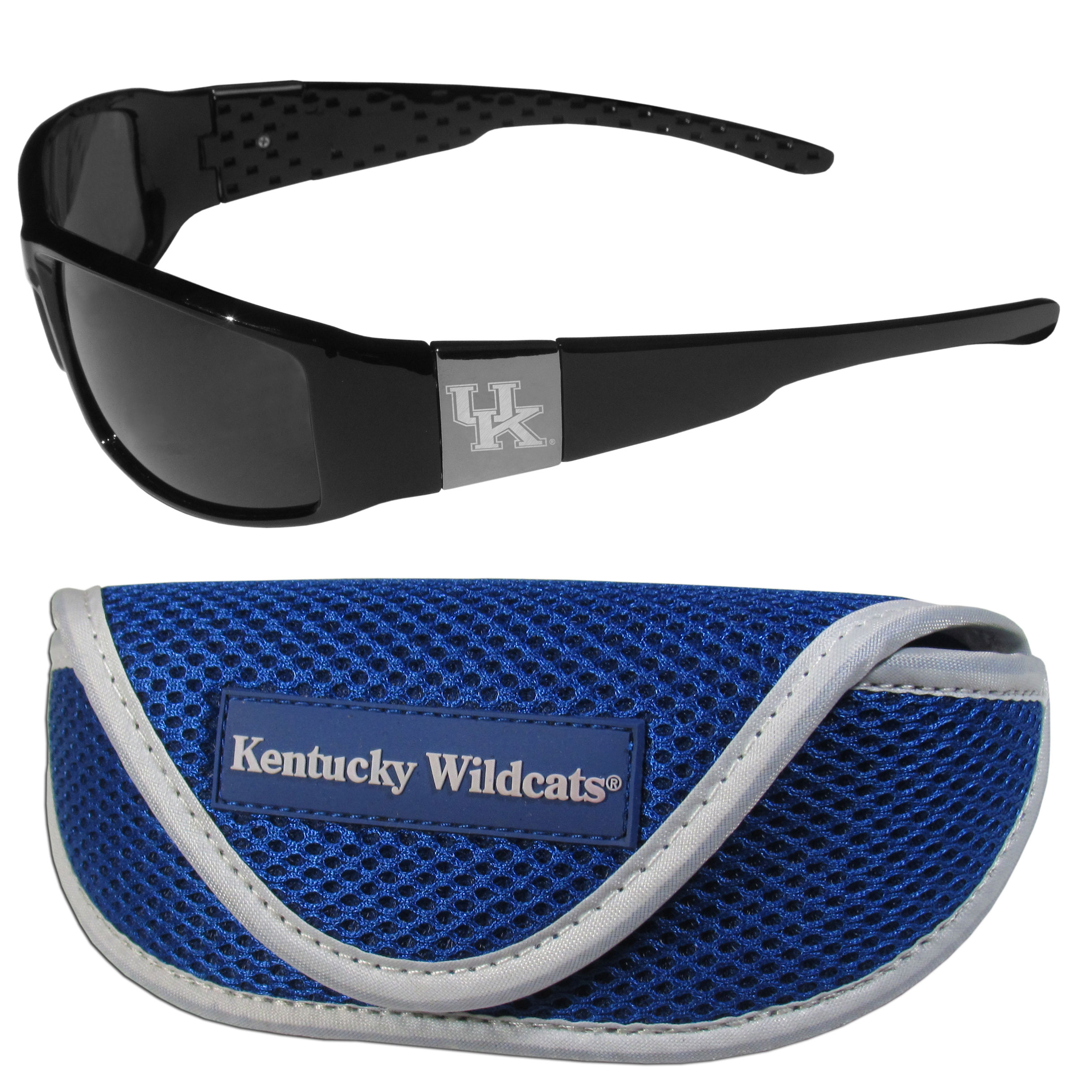 Kentucky Wildcats Chrome Wrap Sunglasses and Sport Carrying Case - These designer inspired frames have a sleek look in all black with high-polish chrome Kentucky Wildcats shields on each arm with an etched logo. The shades are perfect any outdoor activity like; golfing, driving, hiking, fishing or cheering on the team at a tailgating event or an at home game day BBQ with a lens rating of 100% UVA/UVB for maximum UV protection. The high-quality frames are as durable as they are fashionable and with their classic look they are perfect fan accessory that can be worn everyday for every occasion. The shades come with a zippered hard shell case to keep your sunglasses safe.