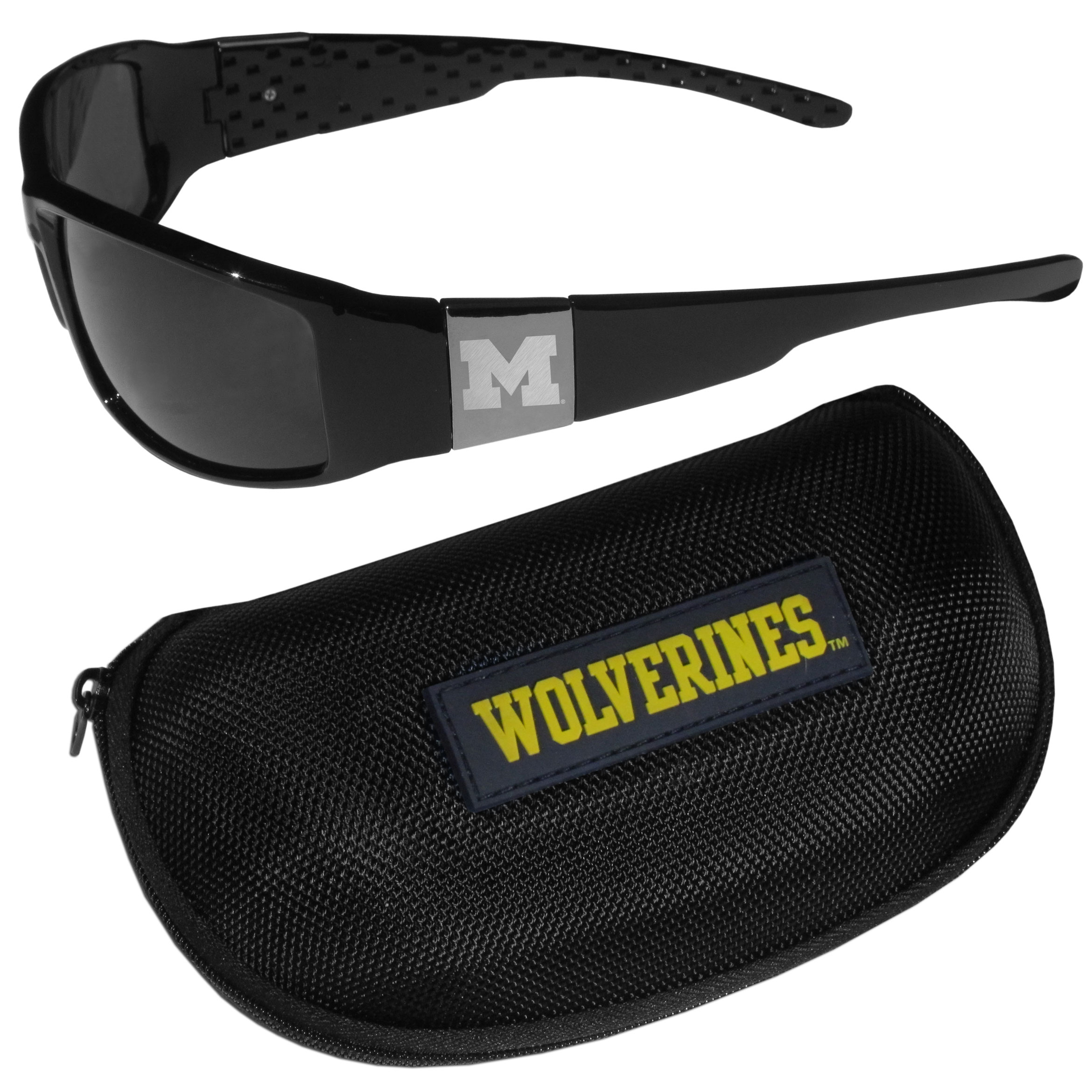 Michigan Wolverines Chrome Wrap Sunglasses and Zippered Carrying Case - These designer inspired frames have a sleek look in all black with high-polish chrome Michigan Wolverines shields on each arm with an etched logo. The shades are perfect any outdoor activity like; golfing, driving, hiking, fishing or cheering on the team at a tailgating event or an at home game day BBQ with a lens rating of 100% UVA/UVB for maximum UV protection. The high-quality frames are as durable as they are fashionable and with their classic look they are perfect fan accessory that can be worn everyday for every occasion. The shades come with a zippered hard shell case to keep your sunglasses safe.
