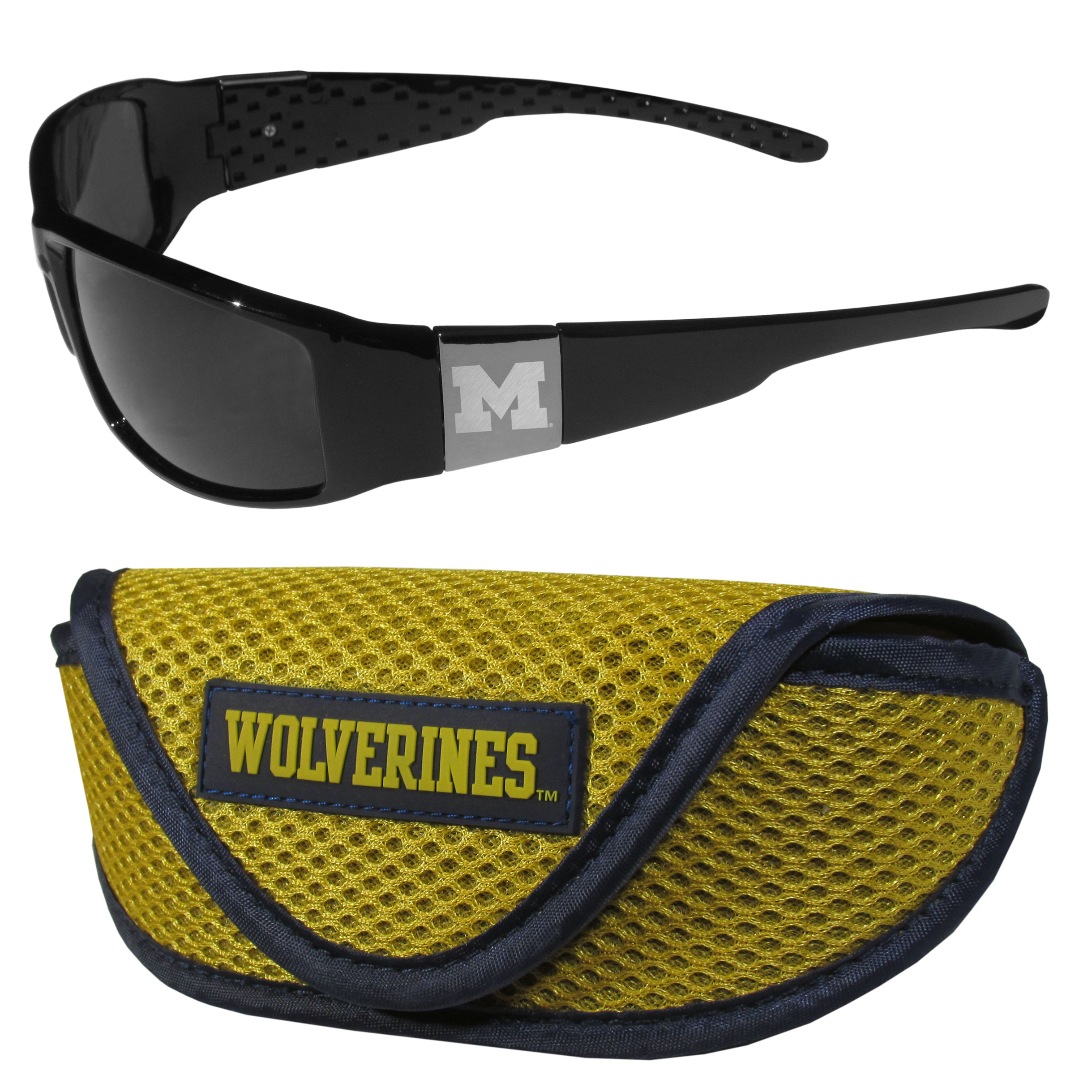 Michigan Wolverines Chrome Wrap Sunglasses and Sport Carrying Case - These designer inspired frames have a sleek look in all black with high-polish chrome Michigan Wolverines shields on each arm with an etched logo. The shades are perfect any outdoor activity like; golfing, driving, hiking, fishing or cheering on the team at a tailgating event or an at home game day BBQ with a lens rating of 100% UVA/UVB for maximum UV protection. The high-quality frames are as durable as they are fashionable and with their classic look they are perfect fan accessory that can be worn everyday for every occasion. The shades come with a zippered hard shell case to keep your sunglasses safe.