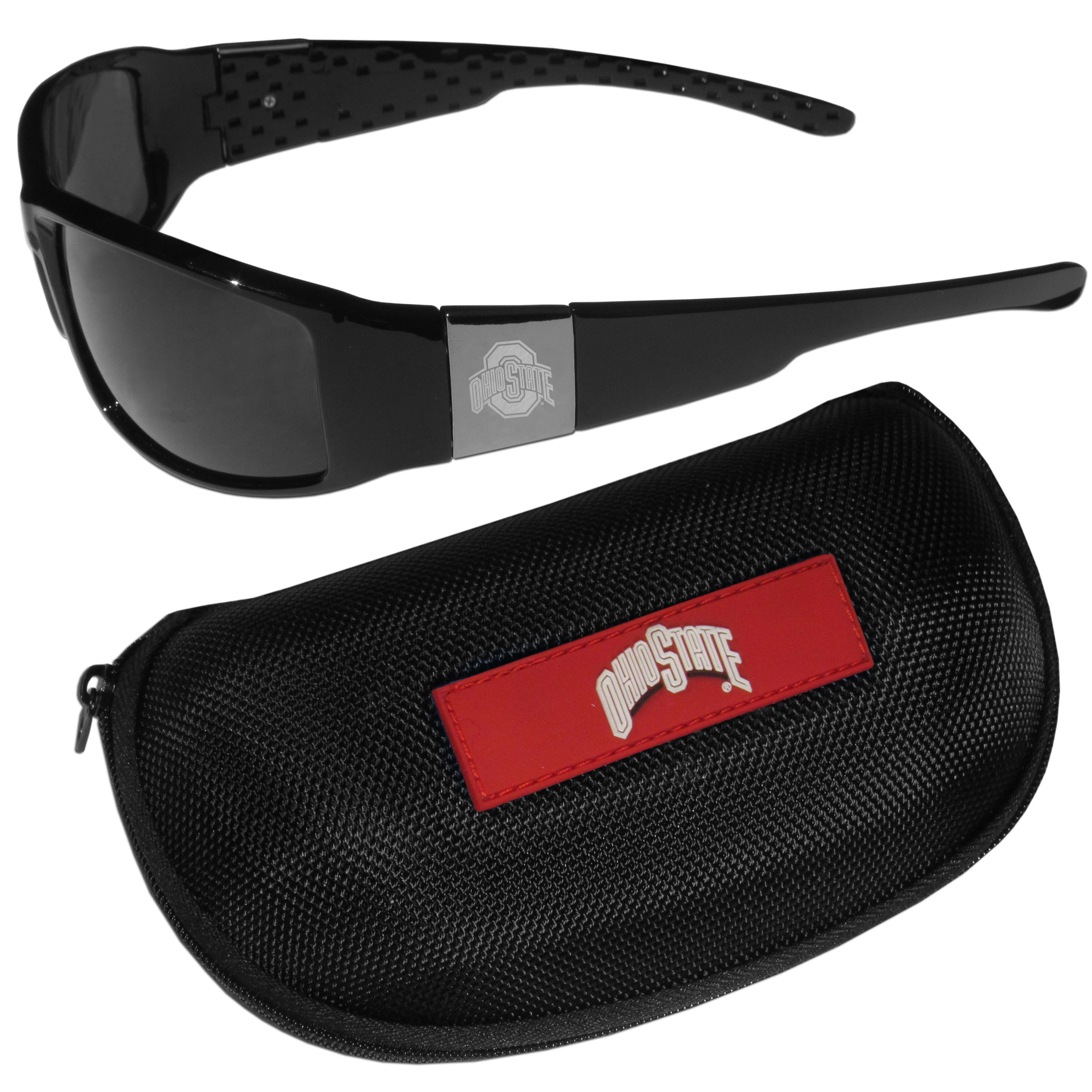 Ohio St. Buckeyes Chrome Wrap Sunglasses and Zippered Carrying Case - These designer inspired frames have a sleek look in all black with high-polish chrome Ohio St. Buckeyes shields on each arm with an etched logo. The shades are perfect any outdoor activity like; golfing, driving, hiking, fishing or cheering on the team at a tailgating event or an at home game day BBQ with a lens rating of 100% UVA/UVB for maximum UV protection. The high-quality frames are as durable as they are fashionable and with their classic look they are perfect fan accessory that can be worn everyday for every occasion. The shades come with a zippered hard shell case to keep your sunglasses safe.