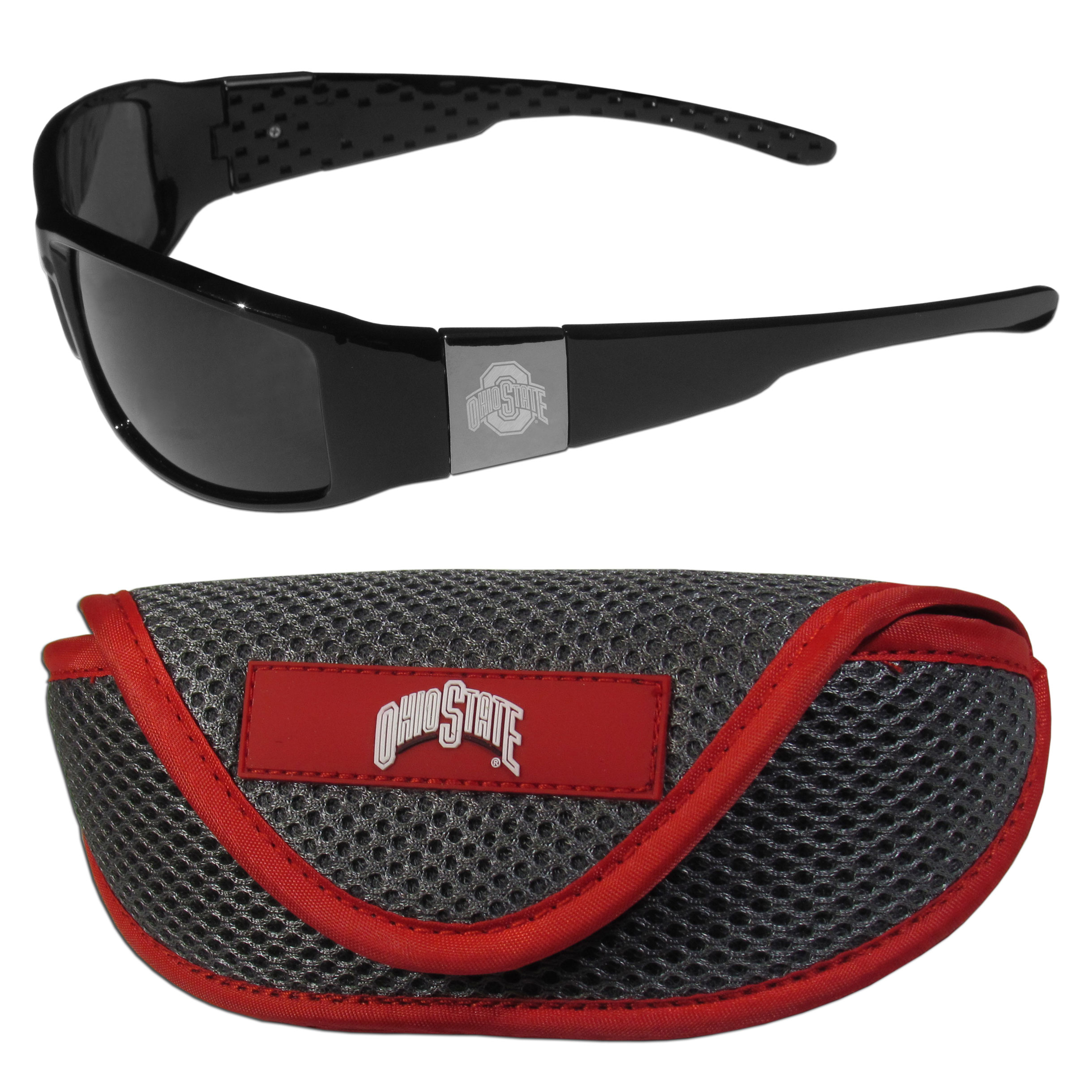 Ohio St. Buckeyes Chrome Wrap Sunglasses and Sport Carrying Case - These designer inspired frames have a sleek look in all black with high-polish chrome Ohio St. Buckeyes shields on each arm with an etched logo. The shades are perfect any outdoor activity like; golfing, driving, hiking, fishing or cheering on the team at a tailgating event or an at home game day BBQ with a lens rating of 100% UVA/UVB for maximum UV protection. The high-quality frames are as durable as they are fashionable and with their classic look they are perfect fan accessory that can be worn everyday for every occasion. The shades come with a zippered hard shell case to keep your sunglasses safe.