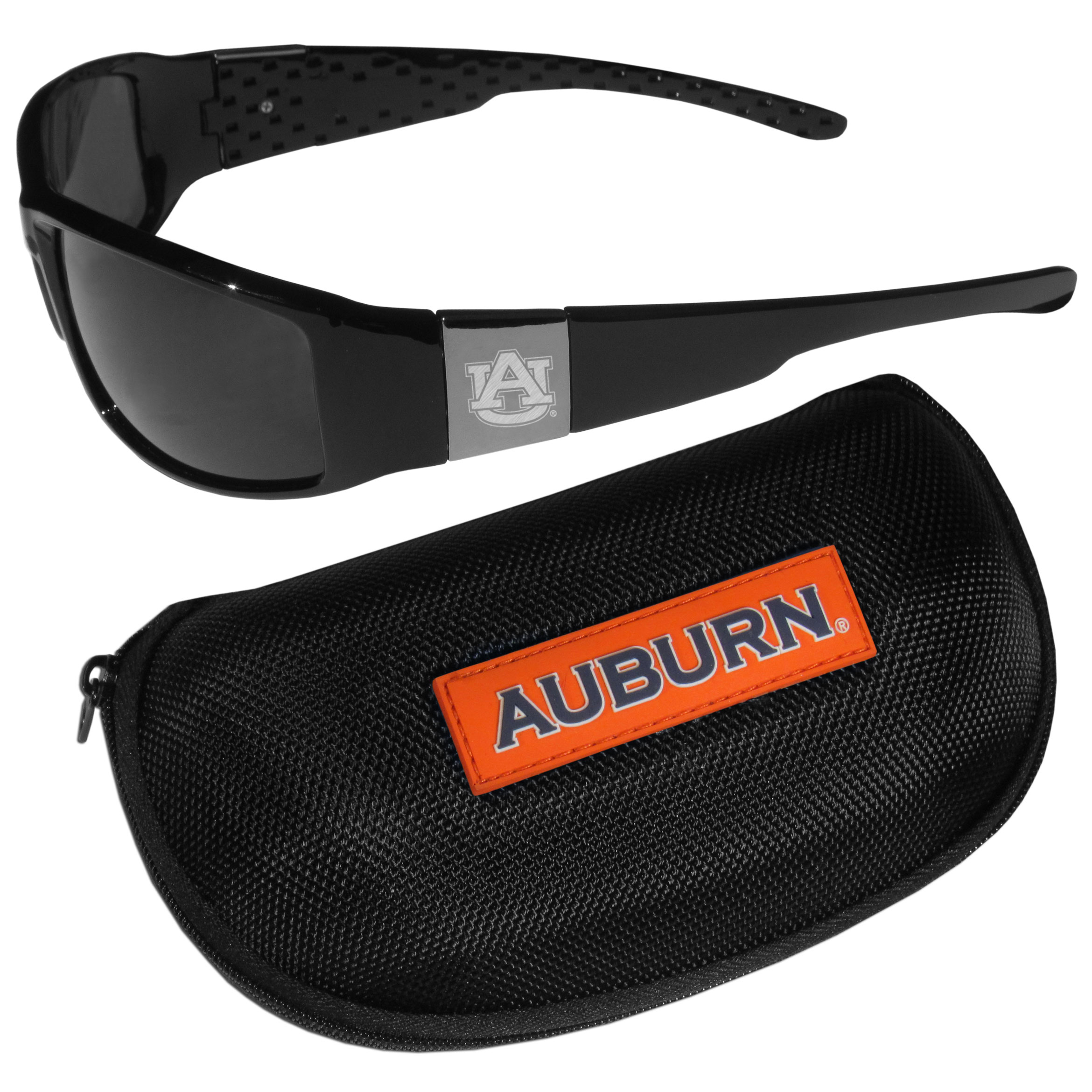 Auburn Tigers Chrome Wrap Sunglasses and Zippered Carrying Case - These designer inspired frames have a sleek look in all black with high-polish chrome Auburn Tigers shields on each arm with an etched logo. The shades are perfect any outdoor activity like; golfing, driving, hiking, fishing or cheering on the team at a tailgating event or an at home game day BBQ with a lens rating of 100% UVA/UVB for maximum UV protection. The high-quality frames are as durable as they are fashionable and with their classic look they are perfect fan accessory that can be worn everyday for every occasion. The shades come with a zippered hard shell case to keep your sunglasses safe.