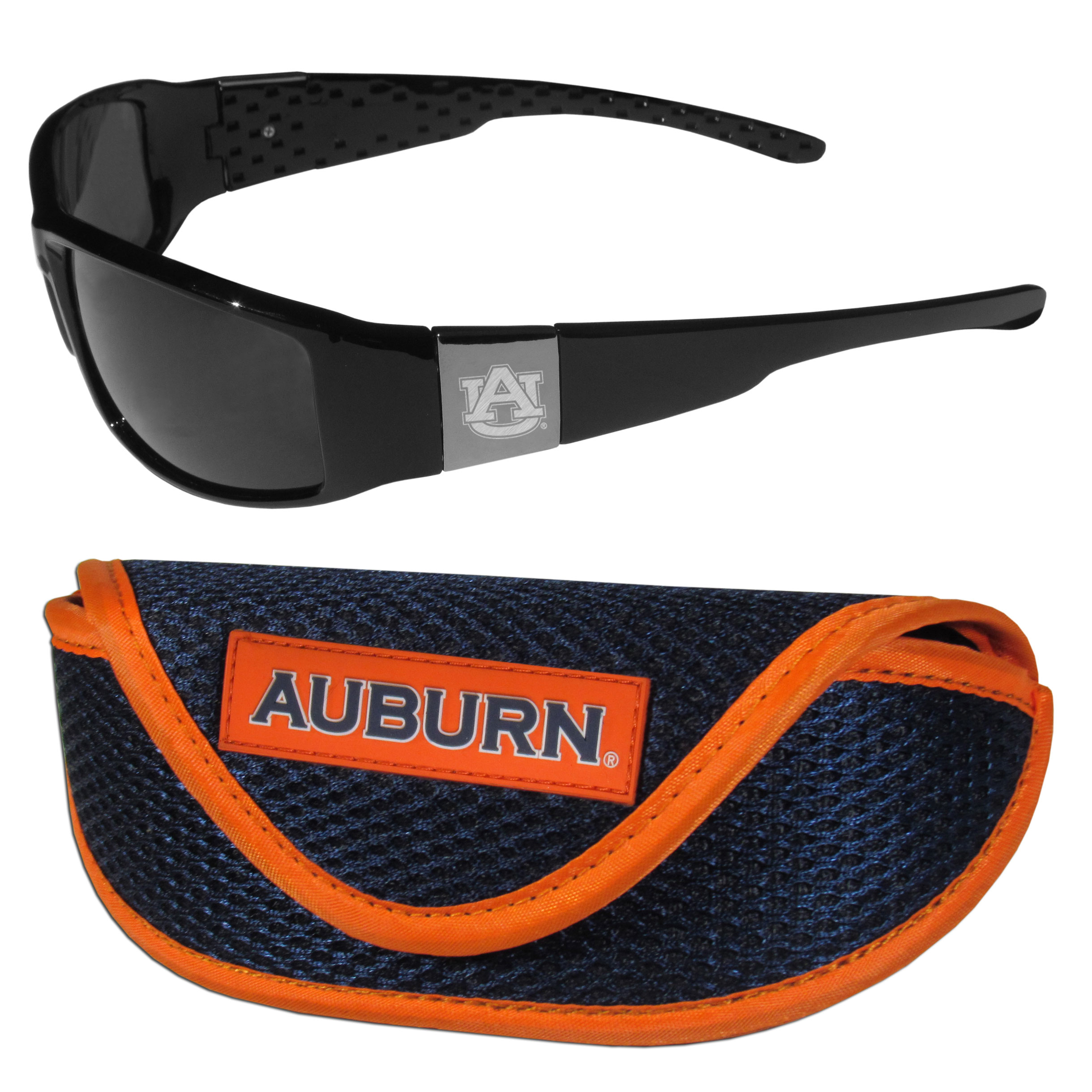 Auburn Tigers Chrome Wrap Sunglasses and Sport Carrying Case - These designer inspired frames have a sleek look in all black with high-polish chrome Auburn Tigers shields on each arm with an etched logo. The shades are perfect any outdoor activity like; golfing, driving, hiking, fishing or cheering on the team at a tailgating event or an at home game day BBQ with a lens rating of 100% UVA/UVB for maximum UV protection. The high-quality frames are as durable as they are fashionable and with their classic look they are perfect fan accessory that can be worn everyday for every occasion. The shades come with a zippered hard shell case to keep your sunglasses safe.