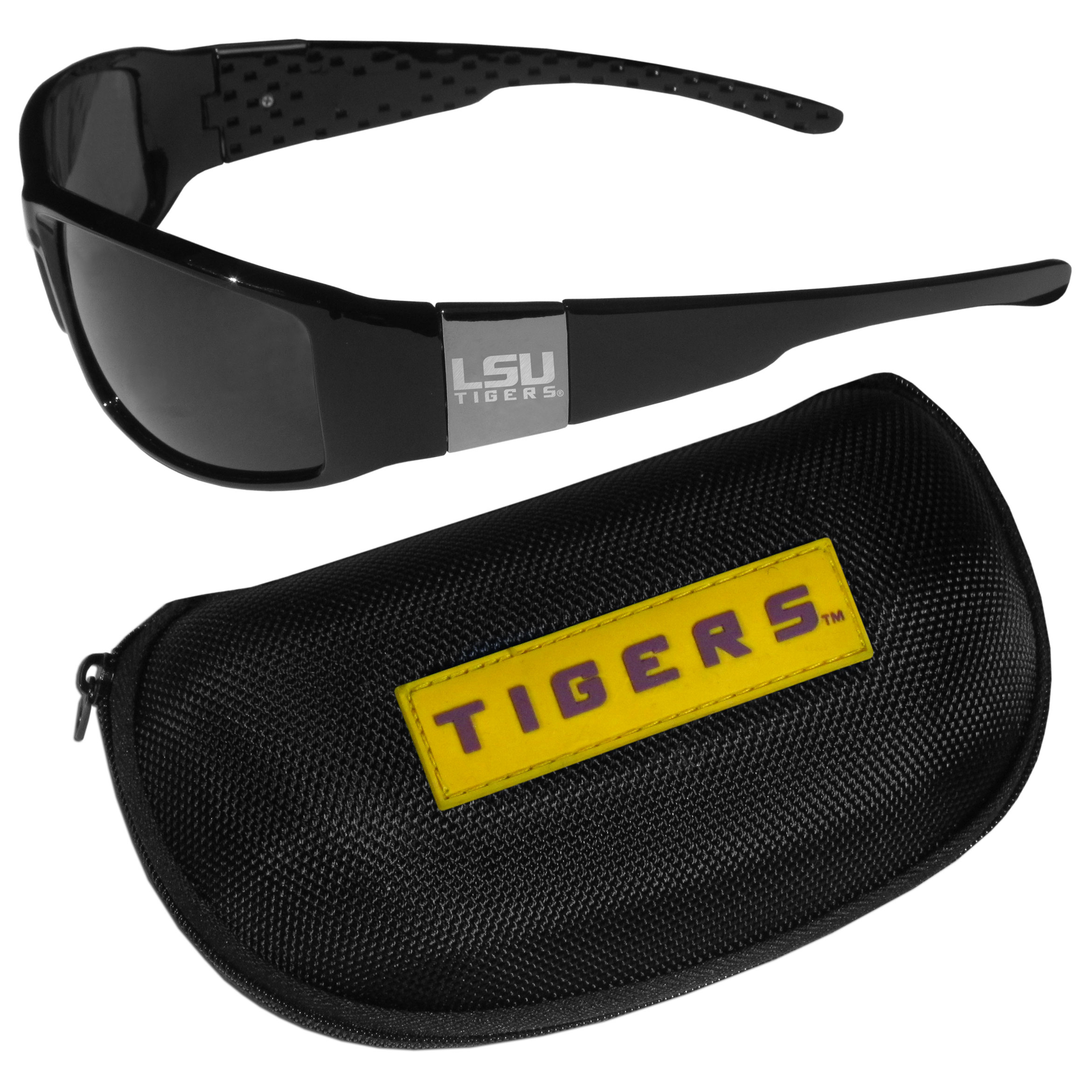 LSU Tigers Chrome Wrap Sunglasses and Zippered Carrying Case - These designer inspired frames have a sleek look in all black with high-polish chrome LSU Tigers shields on each arm with an etched logo. The shades are perfect any outdoor activity like; golfing, driving, hiking, fishing or cheering on the team at a tailgating event or an at home game day BBQ with a lens rating of 100% UVA/UVB for maximum UV protection. The high-quality frames are as durable as they are fashionable and with their classic look they are perfect fan accessory that can be worn everyday for every occasion. The shades come with a zippered hard shell case to keep your sunglasses safe.