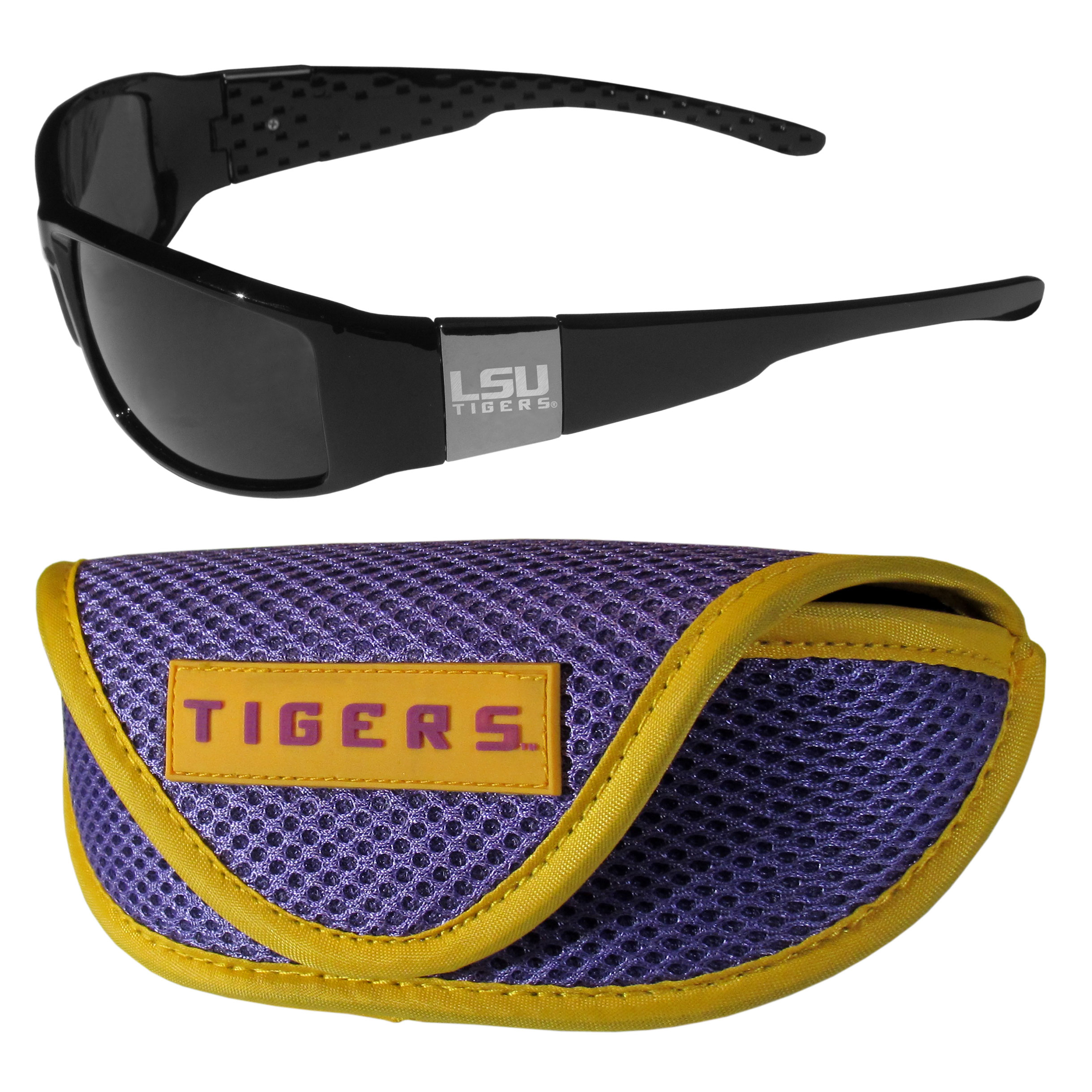 LSU Tigers Chrome Wrap Sunglasses and Sport Carrying Case - These designer inspired frames have a sleek look in all black with high-polish chrome LSU Tigers shields on each arm with an etched logo. The shades are perfect any outdoor activity like; golfing, driving, hiking, fishing or cheering on the team at a tailgating event or an at home game day BBQ with a lens rating of 100% UVA/UVB for maximum UV protection. The high-quality frames are as durable as they are fashionable and with their classic look they are perfect fan accessory that can be worn everyday for every occasion. The shades come with a zippered hard shell case to keep your sunglasses safe.