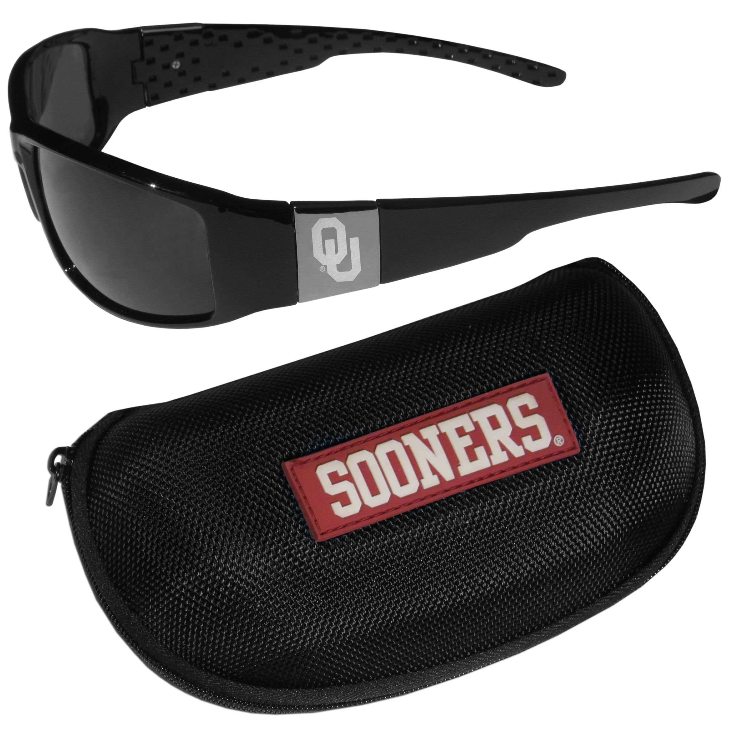 Oklahoma Sooners Chrome Wrap Sunglasses and Zippered Carrying Case - These designer inspired frames have a sleek look in all black with high-polish chrome Oklahoma Sooners shields on each arm with an etched logo. The shades are perfect any outdoor activity like; golfing, driving, hiking, fishing or cheering on the team at a tailgating event or an at home game day BBQ with a lens rating of 100% UVA/UVB for maximum UV protection. The high-quality frames are as durable as they are fashionable and with their classic look they are perfect fan accessory that can be worn everyday for every occasion. The shades come with a zippered hard shell case to keep your sunglasses safe.