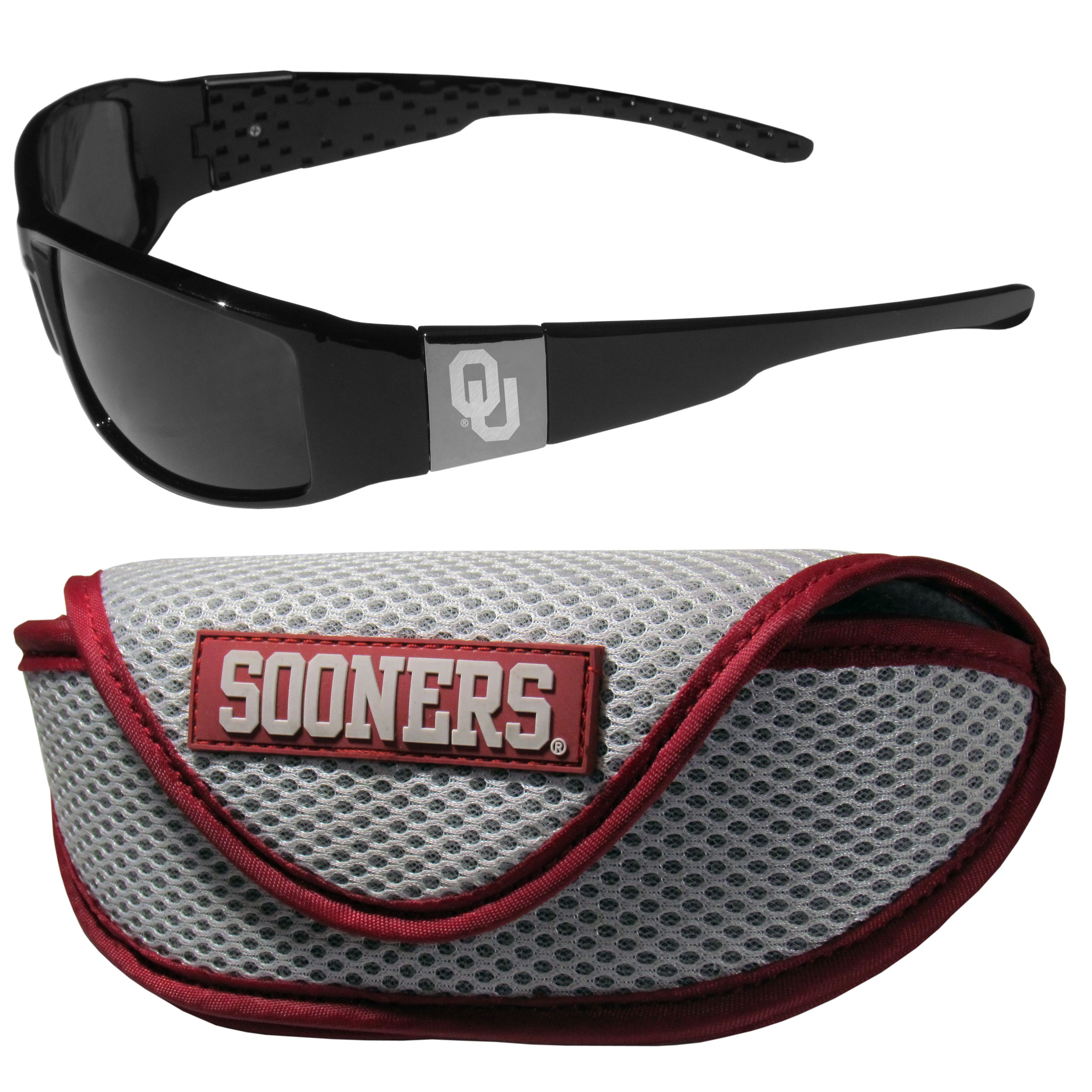 Oklahoma Sooners Chrome Wrap Sunglasses and Sport Carrying Case - These designer inspired frames have a sleek look in all black with high-polish chrome Oklahoma Sooners shields on each arm with an etched logo. The shades are perfect any outdoor activity like; golfing, driving, hiking, fishing or cheering on the team at a tailgating event or an at home game day BBQ with a lens rating of 100% UVA/UVB for maximum UV protection. The high-quality frames are as durable as they are fashionable and with their classic look they are perfect fan accessory that can be worn everyday for every occasion. The shades come with a zippered hard shell case to keep your sunglasses safe.