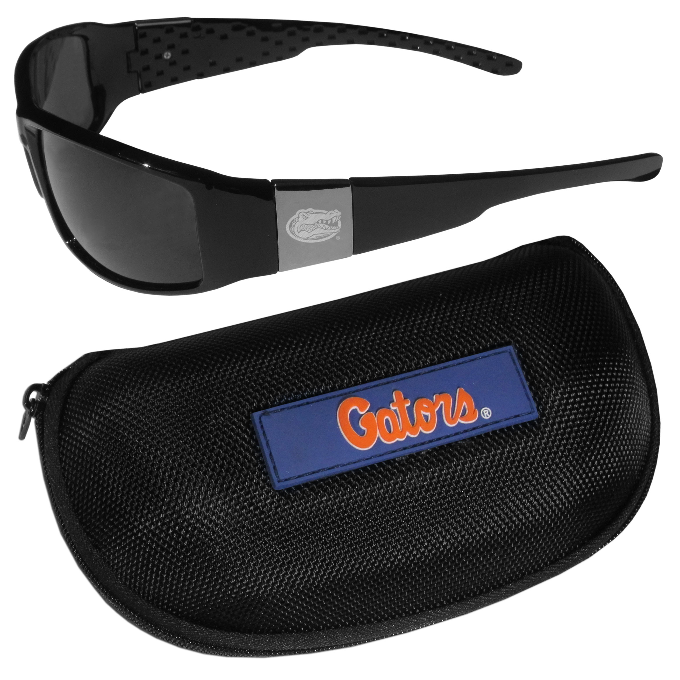 Florida Gators Chrome Wrap Sunglasses and Zippered Carrying Case - These designer inspired frames have a sleek look in all black with high-polish chrome Florida Gators shields on each arm with an etched logo. The shades are perfect any outdoor activity like; golfing, driving, hiking, fishing or cheering on the team at a tailgating event or an at home game day BBQ with a lens rating of 100% UVA/UVB for maximum UV protection. The high-quality frames are as durable as they are fashionable and with their classic look they are perfect fan accessory that can be worn everyday for every occasion. The shades come with a zippered hard shell case to keep your sunglasses safe.