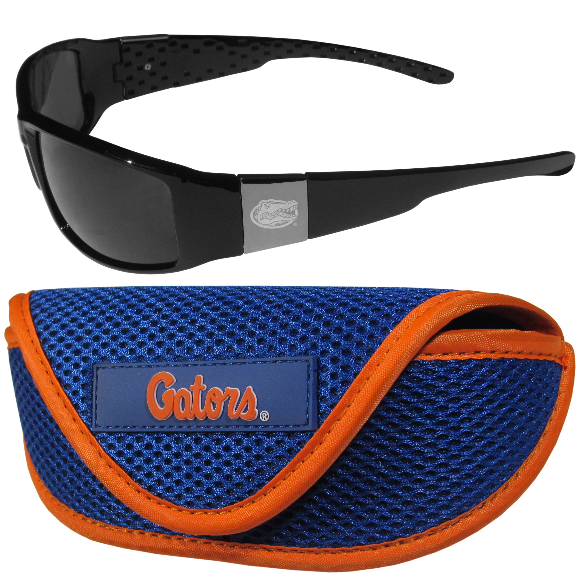 Florida Gators Chrome Wrap Sunglasses and Sport Carrying Case - These designer inspired frames have a sleek look in all black with high-polish chrome Florida Gators shields on each arm with an etched logo. The shades are perfect any outdoor activity like; golfing, driving, hiking, fishing or cheering on the team at a tailgating event or an at home game day BBQ with a lens rating of 100% UVA/UVB for maximum UV protection. The high-quality frames are as durable as they are fashionable and with their classic look they are perfect fan accessory that can be worn everyday for every occasion. The shades come with a zippered hard shell case to keep your sunglasses safe.