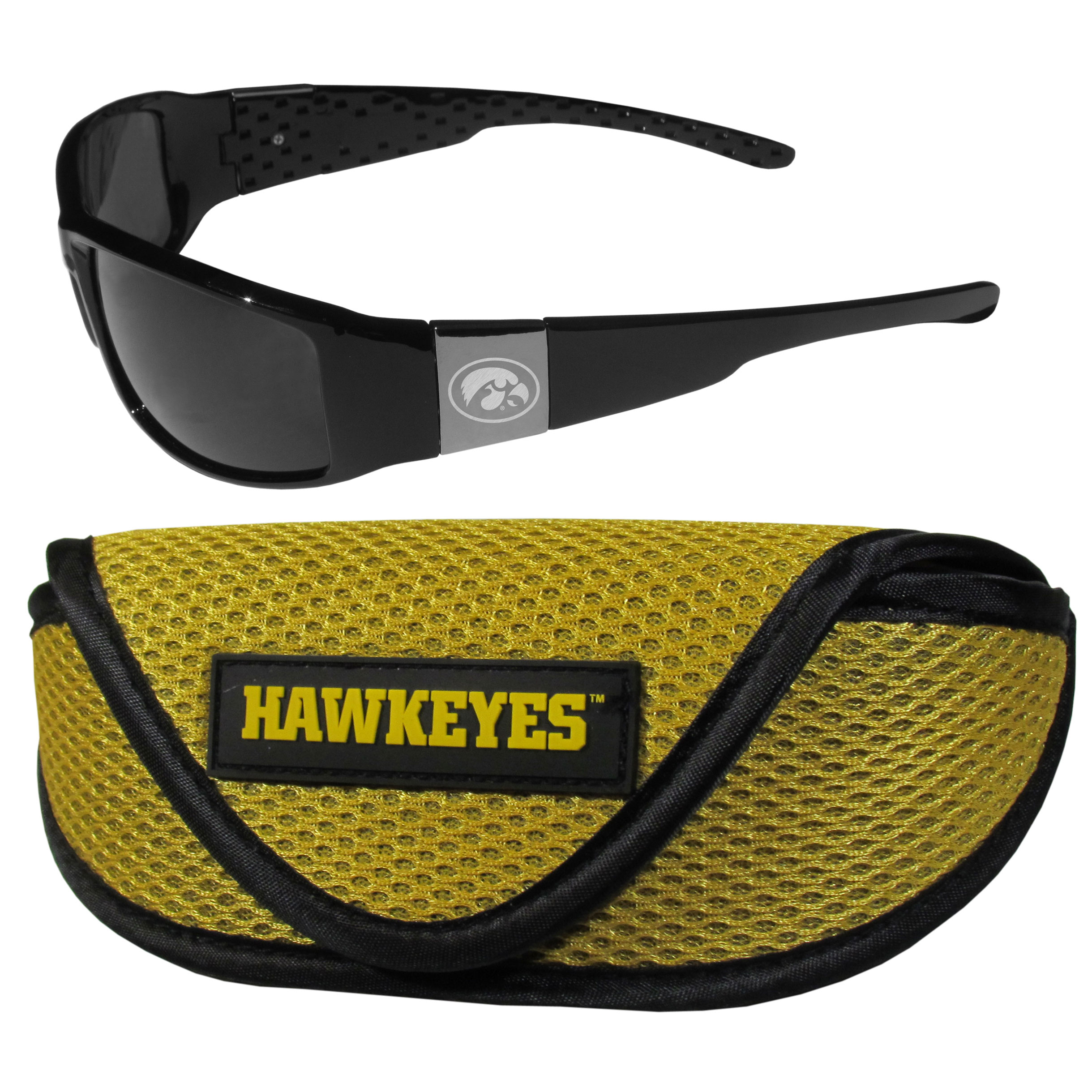 Iowa Hawkeyes Chrome Wrap Sunglasses and Sport Carrying Case - These designer inspired frames have a sleek look in all black with high-polish chrome Iowa Hawkeyes shields on each arm with an etched logo. The shades are perfect any outdoor activity like; golfing, driving, hiking, fishing or cheering on the team at a tailgating event or an at home game day BBQ with a lens rating of 100% UVA/UVB for maximum UV protection. The high-quality frames are as durable as they are fashionable and with their classic look they are perfect fan accessory that can be worn everyday for every occasion. The shades come with a zippered hard shell case to keep your sunglasses safe.