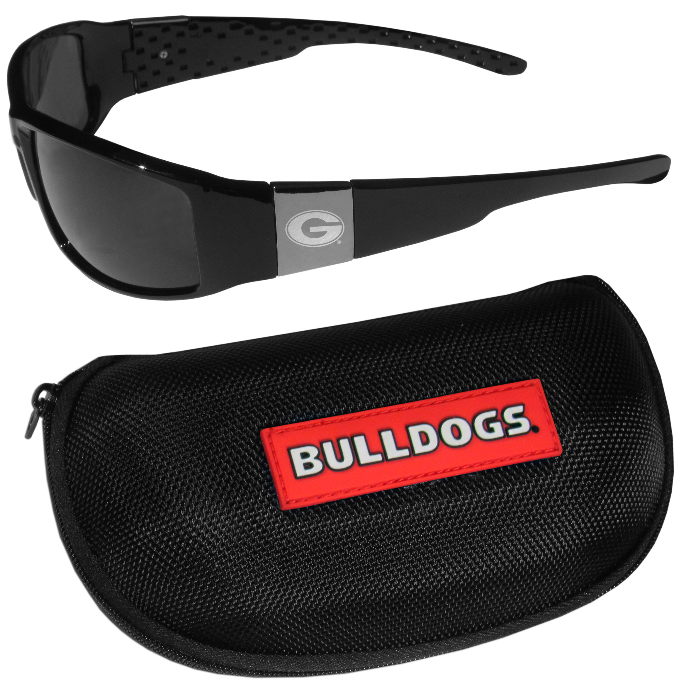 Georgia Bulldogs Chrome Wrap Sunglasses and Zippered Carrying Case - These designer inspired frames have a sleek look in all black with high-polish chrome Georgia Bulldogs shields on each arm with an etched logo. The shades are perfect any outdoor activity like; golfing, driving, hiking, fishing or cheering on the team at a tailgating event or an at home game day BBQ with a lens rating of 100% UVA/UVB for maximum UV protection. The high-quality frames are as durable as they are fashionable and with their classic look they are perfect fan accessory that can be worn everyday for every occasion. The shades come with a zippered hard shell case to keep your sunglasses safe.