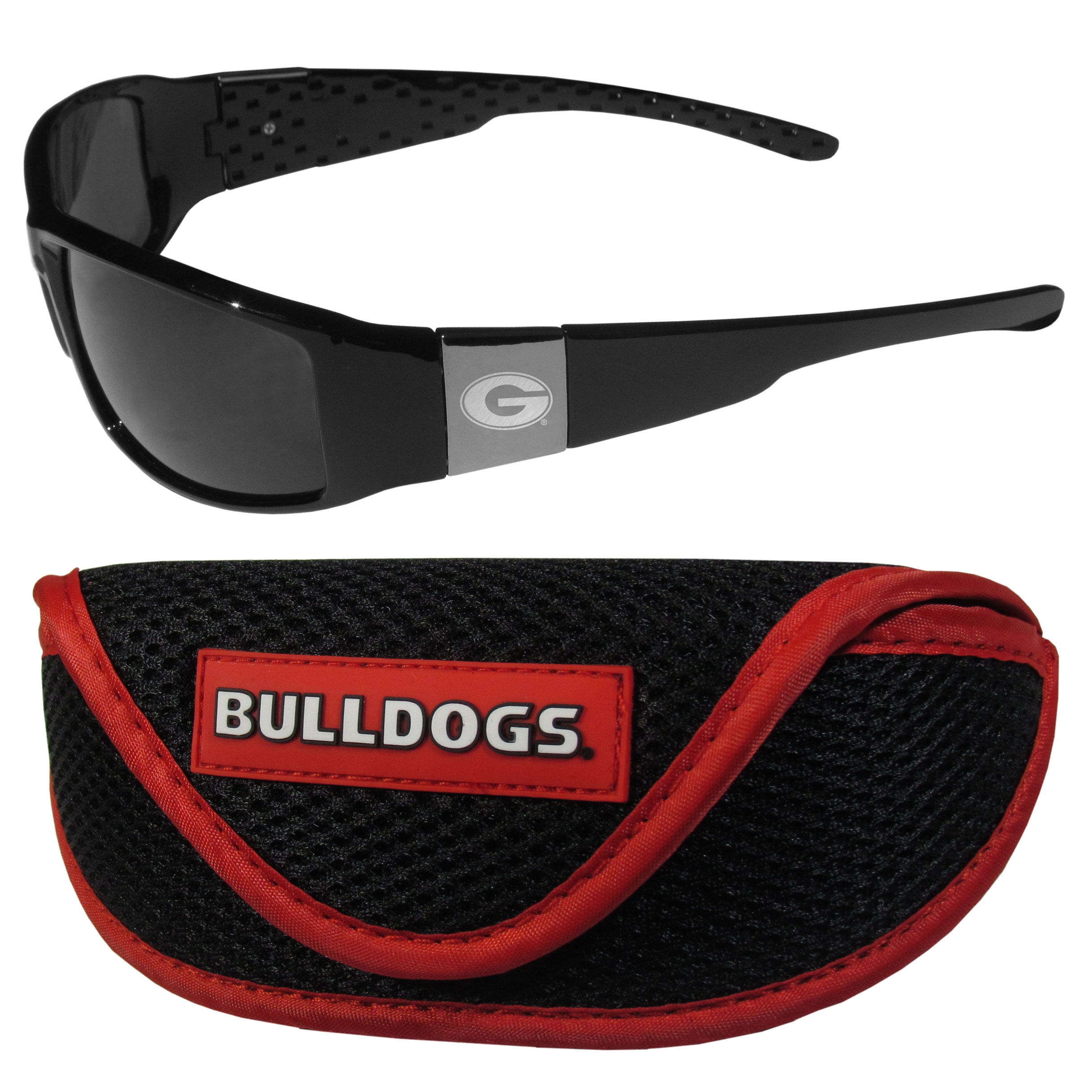 Georgia Bulldogs Chrome Wrap Sunglasses and Sport Carrying Case - These designer inspired frames have a sleek look in all black with high-polish chrome Georgia Bulldogs shields on each arm with an etched logo. The shades are perfect any outdoor activity like; golfing, driving, hiking, fishing or cheering on the team at a tailgating event or an at home game day BBQ with a lens rating of 100% UVA/UVB for maximum UV protection. The high-quality frames are as durable as they are fashionable and with their classic look they are perfect fan accessory that can be worn everyday for every occasion. The shades come with a zippered hard shell case to keep your sunglasses safe.