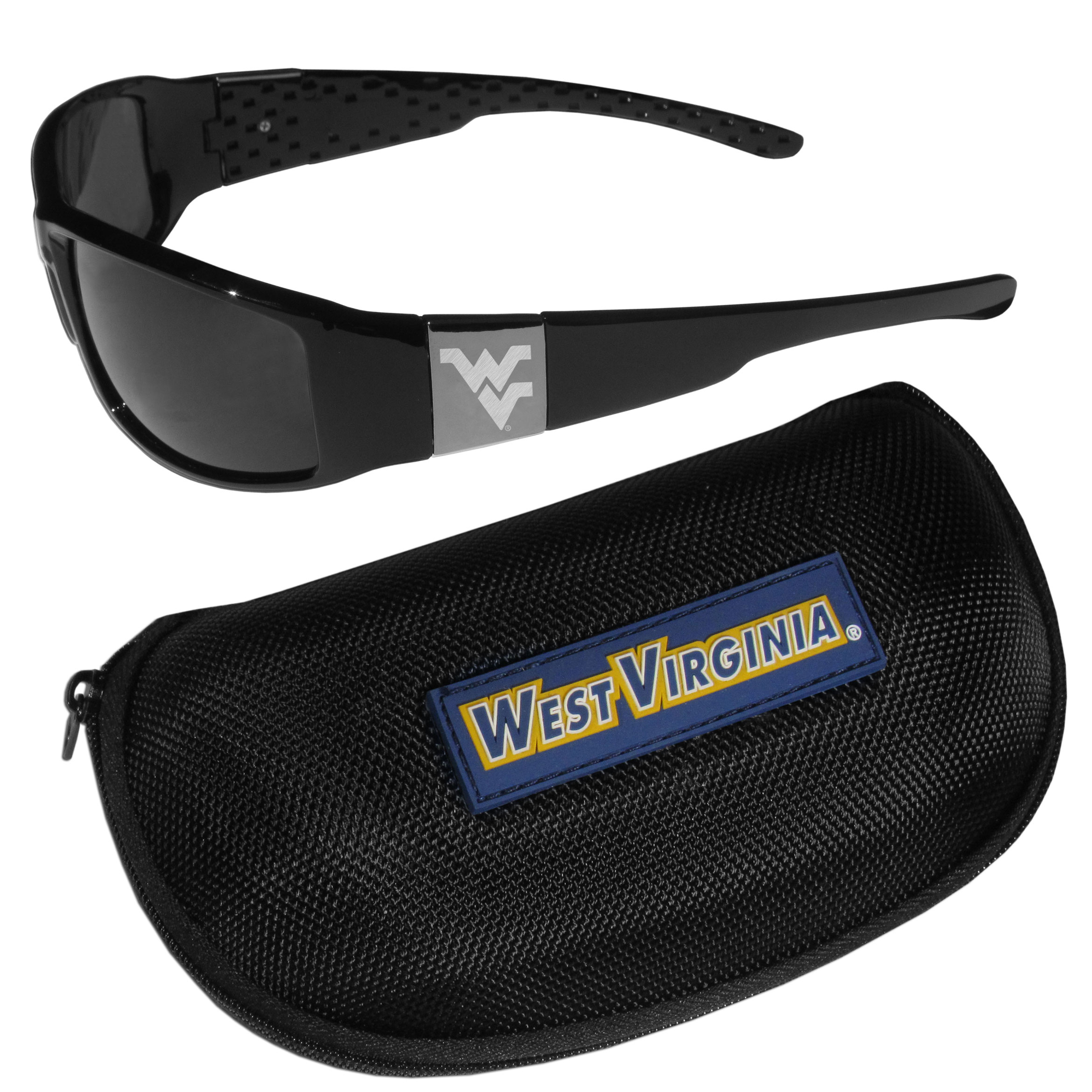 W. Virginia Mountaineers Chrome Wrap Sunglasses and Zippered Carrying Case - These designer inspired frames have a sleek look in all black with high-polish chrome W. Virginia Mountaineers shields on each arm with an etched logo. The shades are perfect any outdoor activity like; golfing, driving, hiking, fishing or cheering on the team at a tailgating event or an at home game day BBQ with a lens rating of 100% UVA/UVB for maximum UV protection. The high-quality frames are as durable as they are fashionable and with their classic look they are perfect fan accessory that can be worn everyday for every occasion. The shades come with a zippered hard shell case to keep your sunglasses safe.