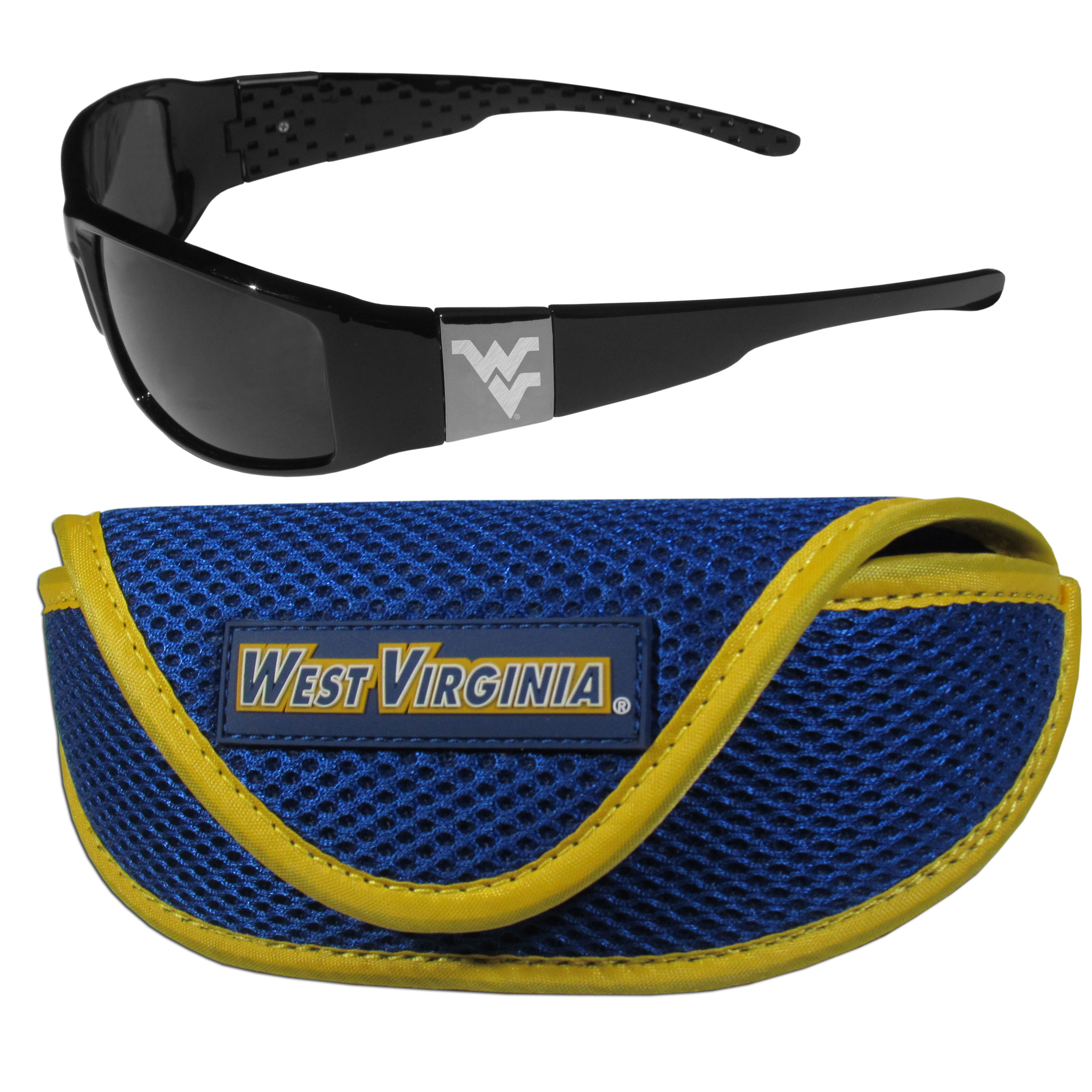 W. Virginia Mountaineers Chrome Wrap Sunglasses and Sport Carrying Case - These designer inspired frames have a sleek look in all black with high-polish chrome W. Virginia Mountaineers shields on each arm with an etched logo. The shades are perfect any outdoor activity like; golfing, driving, hiking, fishing or cheering on the team at a tailgating event or an at home game day BBQ with a lens rating of 100% UVA/UVB for maximum UV protection. The high-quality frames are as durable as they are fashionable and with their classic look they are perfect fan accessory that can be worn everyday for every occasion. The shades come with a zippered hard shell case to keep your sunglasses safe.