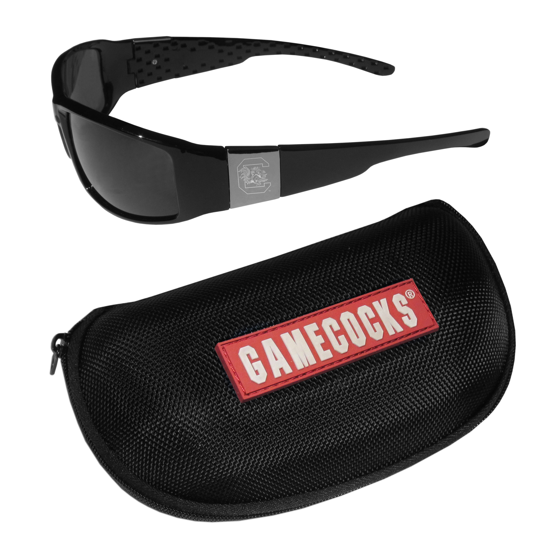 S. Carolina Gamecocks Chrome Wrap Sunglasses and Zippered Carrying Case - These designer inspired frames have a sleek look in all black with high-polish chrome S. Carolina Gamecocks shields on each arm with an etched logo. The shades are perfect any outdoor activity like; golfing, driving, hiking, fishing or cheering on the team at a tailgating event or an at home game day BBQ with a lens rating of 100% UVA/UVB for maximum UV protection. The high-quality frames are as durable as they are fashionable and with their classic look they are perfect fan accessory that can be worn everyday for every occasion. The shades come with a zippered hard shell case to keep your sunglasses safe.