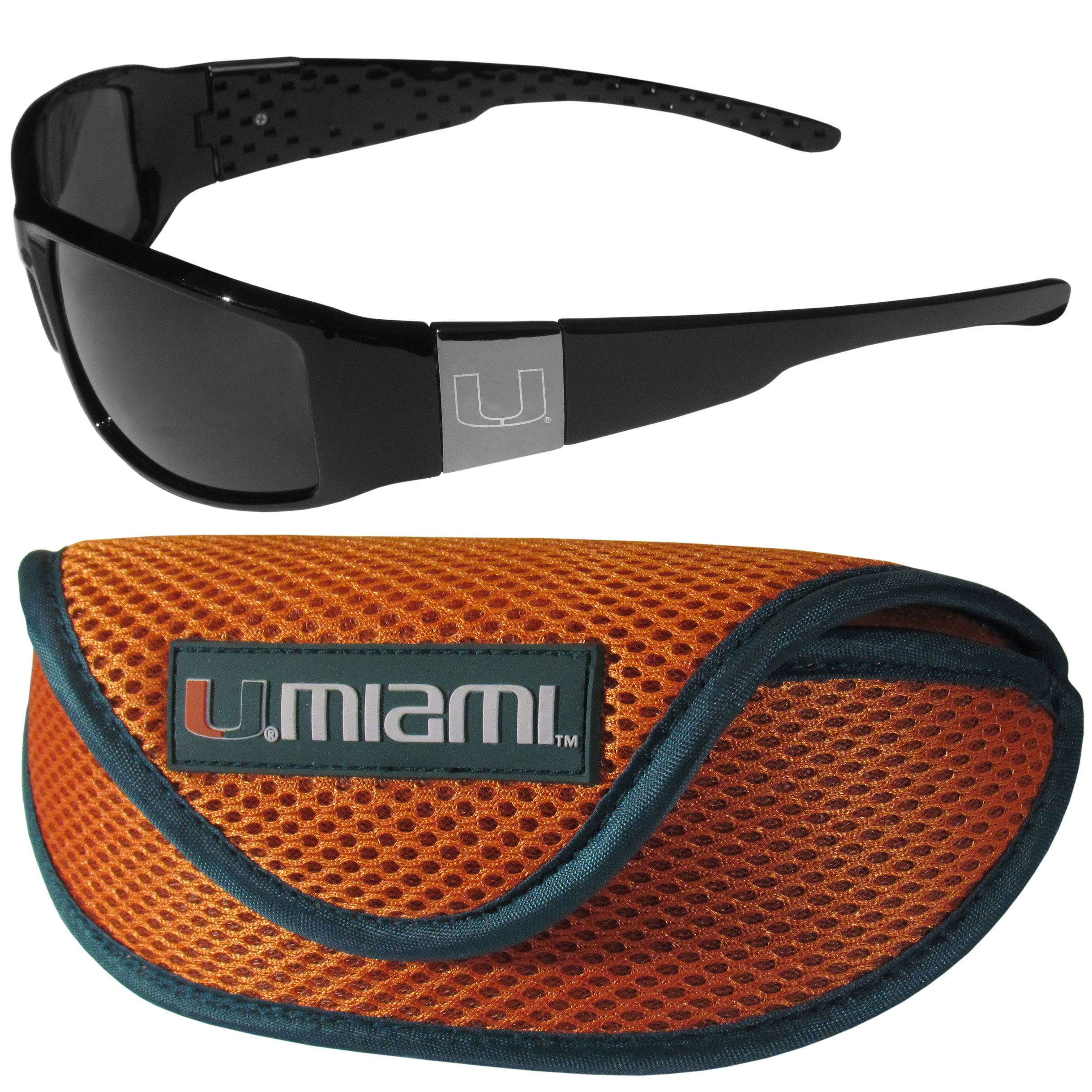 Miami Hurricanes Chrome Wrap Sunglasses and Sport Carrying Case - These designer inspired frames have a sleek look in all black with high-polish chrome Miami Hurricanes shields on each arm with an etched logo. The shades are perfect any outdoor activity like; golfing, driving, hiking, fishing or cheering on the team at a tailgating event or an at home game day BBQ with a lens rating of 100% UVA/UVB for maximum UV protection. The high-quality frames are as durable as they are fashionable and with their classic look they are perfect fan accessory that can be worn everyday for every occasion. The shades come with a zippered hard shell case to keep your sunglasses safe.