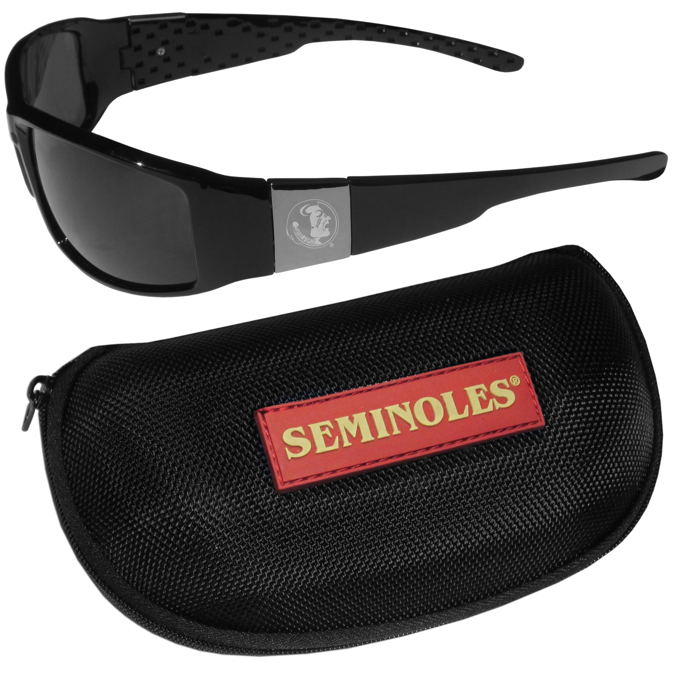 Florida St. Seminoles Chrome Wrap Sunglasses and Zippered Carrying Case - These designer inspired frames have a sleek look in all black with high-polish chrome Florida St. Seminoles shields on each arm with an etched logo. The shades are perfect any outdoor activity like; golfing, driving, hiking, fishing or cheering on the team at a tailgating event or an at home game day BBQ with a lens rating of 100% UVA/UVB for maximum UV protection. The high-quality frames are as durable as they are fashionable and with their classic look they are perfect fan accessory that can be worn everyday for every occasion. The shades come with a zippered hard shell case to keep your sunglasses safe.