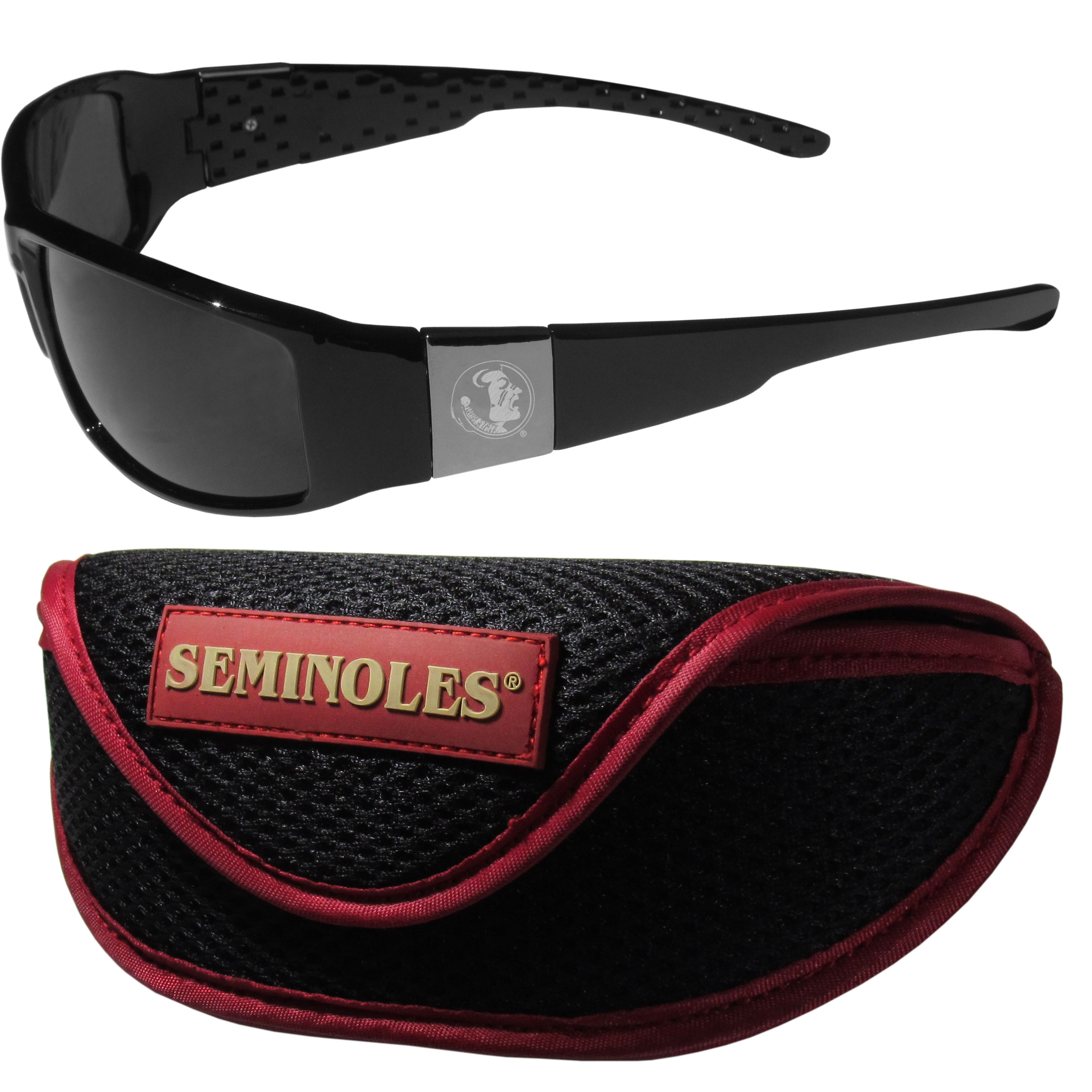 Florida St. Seminoles Chrome Wrap Sunglasses and Sport Carrying Case - These designer inspired frames have a sleek look in all black with high-polish chrome Florida St. Seminoles shields on each arm with an etched logo. The shades are perfect any outdoor activity like; golfing, driving, hiking, fishing or cheering on the team at a tailgating event or an at home game day BBQ with a lens rating of 100% UVA/UVB for maximum UV protection. The high-quality frames are as durable as they are fashionable and with their classic look they are perfect fan accessory that can be worn everyday for every occasion. The shades come with a zippered hard shell case to keep your sunglasses safe.
