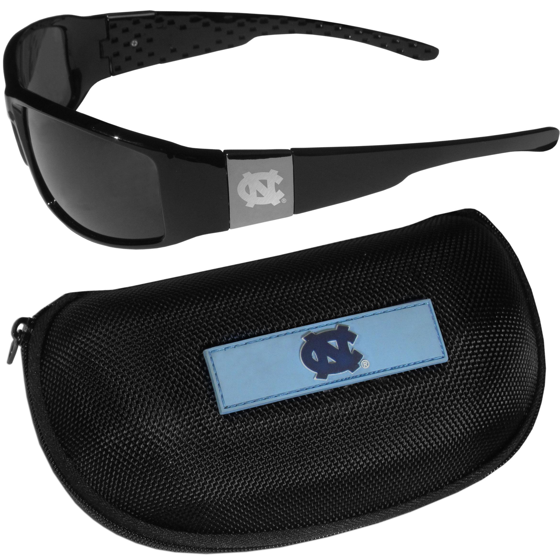 N. Carolina Tar Heels Chrome Wrap Sunglasses and Zippered Carrying Case - These designer inspired frames have a sleek look in all black with high-polish chrome N. Carolina Tar Heels shields on each arm with an etched logo. The shades are perfect any outdoor activity like; golfing, driving, hiking, fishing or cheering on the team at a tailgating event or an at home game day BBQ with a lens rating of 100% UVA/UVB for maximum UV protection. The high-quality frames are as durable as they are fashionable and with their classic look they are perfect fan accessory that can be worn everyday for every occasion. The shades come with a zippered hard shell case to keep your sunglasses safe.