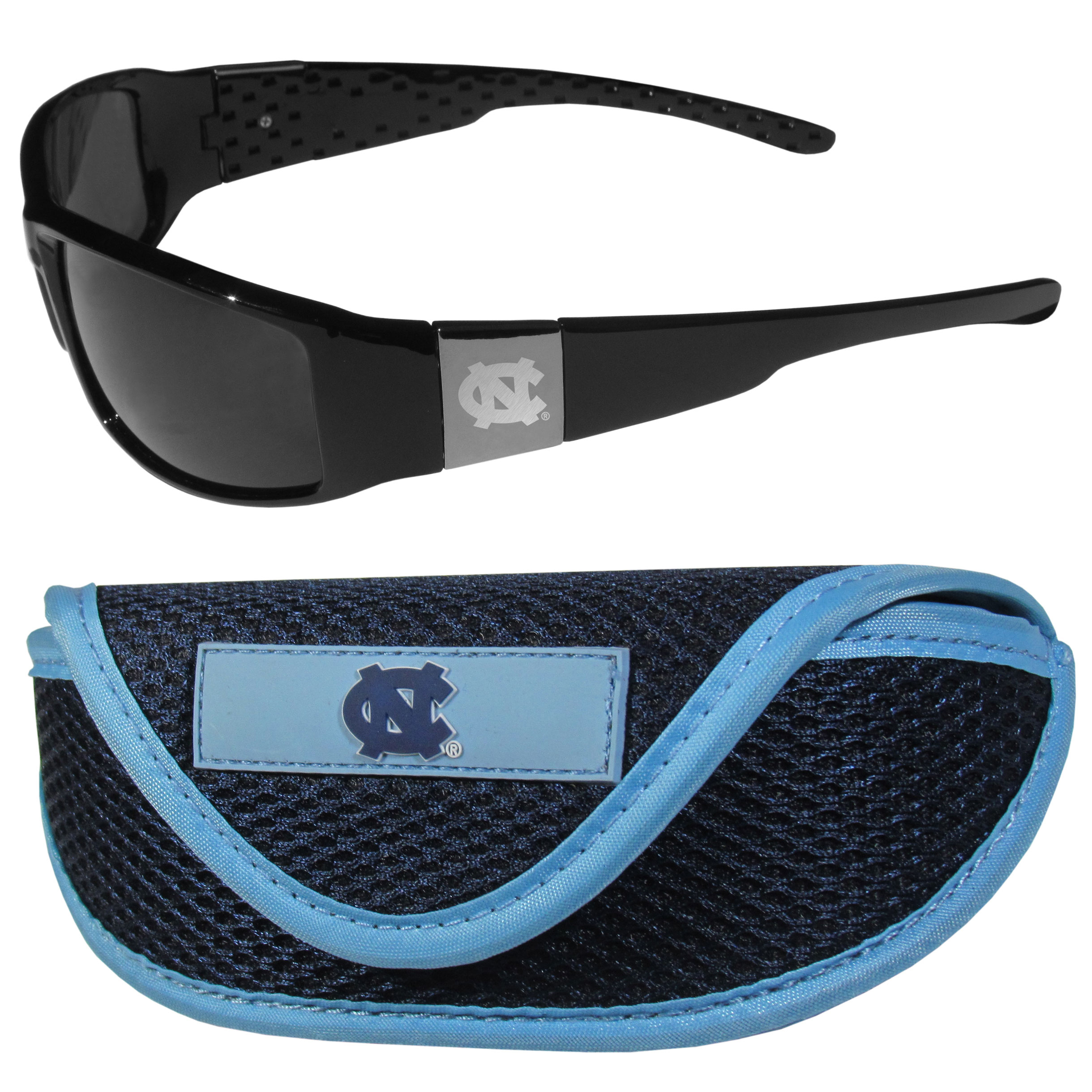N. Carolina Tar Heels Chrome Wrap Sunglasses and Sport Carrying Case - These designer inspired frames have a sleek look in all black with high-polish chrome N. Carolina Tar Heels shields on each arm with an etched logo. The shades are perfect any outdoor activity like; golfing, driving, hiking, fishing or cheering on the team at a tailgating event or an at home game day BBQ with a lens rating of 100% UVA/UVB for maximum UV protection. The high-quality frames are as durable as they are fashionable and with their classic look they are perfect fan accessory that can be worn everyday for every occasion. The shades come with a zippered hard shell case to keep your sunglasses safe.