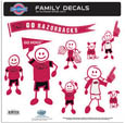 Arkansas Razorbacks Large Family Decal Set - Show off your team pride with our Arkansas Razorbacks family automotive decals. The Arkansas Razorbacks Large Family Decal Set includes 9 individual family themed decals that each feature the team logo. The large characters are a full 6 inches tall! The 11 x 11 inch decal set is made of outdoor rated, repositionable vinyl for durability and easy application. Thank you for shopping with CrazedOutSports.com