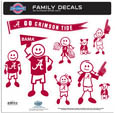 Alabama Crimson Tide Large Family Decal Set - Show off your team pride with our Alabama Crimson Tide family automotive decals. The set includes 9 individual family themed decals that each feature the team logo. The large characters are a full 6 inches tall! The 11 x 11 inch decal set is made of outdoor rated, repositionable vinyl for durability and easy application. Thank you for shopping with CrazedOutSports.com