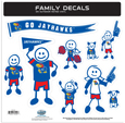 Kansas Jayhawks Large Family Decal Set - Show off your team pride with our Kansas Jayhawks family automotive decals. The Kansas Jayhawks Large Family Decal Set includes 9 individual family themed decals that each feature the team logo. The large characters are a full 6 inches tall! The 11 x 11 inch decal set is made of outdoor rated, repositionable vinyl for durability and easy application. Thank you for shopping with CrazedOutSports.com