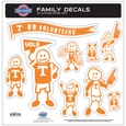 Tennessee Volunteers Large Family Decal Set - Show off your team pride with our Tennessee Volunteers family automotive decals. The set includes 9 individual family themed decals that each feature the team logo. The large characters are a full 6 inches tall! The 11 x 11 inch decal set is made of outdoor rated, repositionable vinyl for durability and easy application. Thank you for shopping with CrazedOutSports.com
