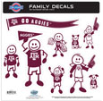 Texas A and M Aggies Large Family Decal Set - Show off your team pride with our Texas A & M Aggies family automotive decals. The set includes 9 individual family themed decals that each feature the team logo. The large characters are a full 6 inches tall! The 11 x 11 inch decal set is made of outdoor rated, repositionable vinyl for durability and easy application. Thank you for shopping with CrazedOutSports.com