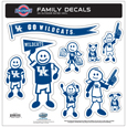 Kentucky Wildcats Large Family Decal Set - Show off your team pride with our Kentucky Wildcats family automotive decals. The set includes 9 individual family themed decals that each feature the team logo. The large characters are a full 6 inches tall! The 11 x 11 inch decal set is made of outdoor rated, repositionable vinyl for durability and easy application. Thank you for shopping with CrazedOutSports.com