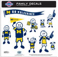 Michigan Wolverines Large Family Decal Set - Show off your team pride with this Michigan Wolverines family automotive decals. The Michigan Wolverines Large Family Decal Set includes 9 individual family themed decals that each feature the team logo. The Michigan Wolverines Large Family Decal Set characters are a full 6 inches tall! The 11 x 11 inch Michigan Wolverines Large Family Decal Set is made of outdoor rated, repositionable vinyl for durability and easy application. Thank you for shopping with CrazedOutSports.com