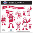 Ohio St. Buckeyes Large Family Decal Set - Show off your team pride with our Ohio St. Buckeyes family automotive decals. The set includes 9 individual family themed decals that each feature the team logo. The large characters are a full 6 inches tall! The 11 x 11 inch decal set is made of outdoor rated, repositionable vinyl for durability and easy application. Thank you for shopping with CrazedOutSports.com