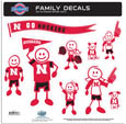 Nebraska Cornhuskers Large Family Decal Set - Show off your team pride with our Nebraska Cornhuskers family automotive decals. The set includes 9 individual family themed decals that each feature the team logo. The large characters are a full 6 inches tall! The 11 x 11 inch decal set is made of outdoor rated, repositionable vinyl for durability and easy application. Thank you for shopping with CrazedOutSports.com
