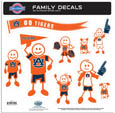 Auburn Tigers Large Family Decal Set - Show off your team pride with our Auburn Tigers family automotive decals. The set includes 9 individual family themed decals that each feature the team logo. The large characters are a full 6 inches tall! The 11 x 11 inch decal set is made of outdoor rated, repositionable vinyl for durability and easy application. Thank you for shopping with CrazedOutSports.com