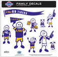 LSU Tigers Large Family Decal Set - Show off your team pride with our LSU Tigers family automotive decals. The LSU Tigers Large Family Decal Set includes 9 individual family themed decals that each feature the team logo. The LSU Tigers Large Family Decal Set has large characters that are a full 6 inches tall! The 11 x 11 inch LSU Tigers Large Family Decal Set is made of outdoor rated, repositionable vinyl for durability and easy application. Thank you for shopping with CrazedOutSports.com