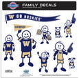 Washington Huskies Large Family Decal Set - Show off your team pride with our Washington Huskies family automotive decals. The set includes 9 individual family themed decals that each feature the team logo. The large characters are a full 6 inches tall! The 11 x 11 inch decal set is made of outdoor rated, repositionable vinyl for durability and easy application. Thank you for shopping with CrazedOutSports.com