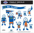 Florida Gators Large Family Decal Set - Show off your team pride with our Florida Gators family automotive decals. The set includes 9 individual family themed decals that each feature the team logo. The large characters are a full 6 inches tall! The 11 x 11 inch decal set is made of outdoor rated, repositionable vinyl for durability and easy application. Thank you for shopping with CrazedOutSports.com