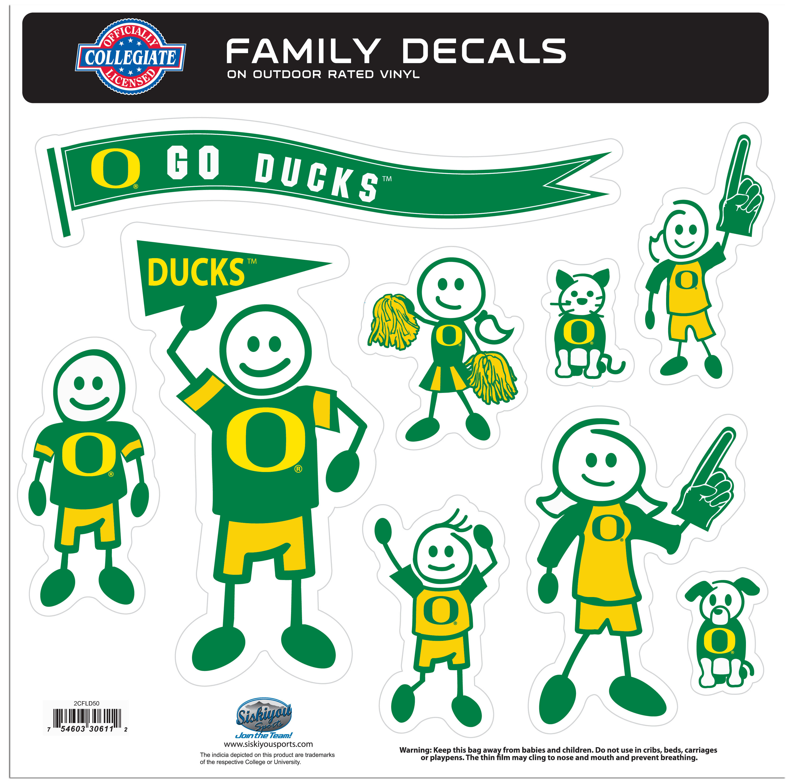 Oregon Ducks Family Decal Set Large - Show off your team pride with our Oregon Ducks family automotive decals. The set has individual family themed decals that each feature the team logo. The 11 x 11 inch decal set is made of outdoor rated, repositionable vinyl for durability and easy application.