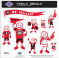 Georgia Bulldogs Large Family Decal Set - Show off your Georgia Bulldogs team pride with our Georgia Bulldogs family automotive decals. The Georgia Bulldogs Large Family Decal Set includes 9 individual family themed decals that each feature the team logo. The large characters are a full 6 inches tall! The 11 x 11 inch decal set is made of outdoor rated, repositionable vinyl for durability and easy application. Thank you for shopping with CrazedOutSports.com