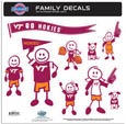 Virginia Tech Hokies Large Family Decal Set - Show off your team pride with our Virginia Tech Hokies family automotive decals. The set includes 9 individual family themed decals that each feature the team logo. The large characters are a full 6 inches tall! The 11 x 11 inch decal set is made of outdoor rated, repositionable vinyl for durability and easy application. Thank you for shopping with CrazedOutSports.com