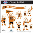 Missouri Tigers Large Family Decal Set - Show off your team pride with our Missouri Tigers family automotive decals. The set includes 9 individual family themed decals that each feature the team logo. The large characters are a full 6 inches tall! The 11 x 11 inch decal set is made of outdoor rated, repositionable vinyl for durability and easy application. Thank you for shopping with CrazedOutSports.com