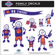 Clemson Tigers Large Family Decal Set - Show off your Clemson Tigers team pride with our Clemson Tigers family automotive decals. The set includes 9 individual family themed decals that each feature the team logo. The large characters are a full 6 inches tall! The 11 x 11 inch decal set is made of outdoor rated, repositionable vinyl for durability and easy application. Thank you for shopping with CrazedOutSports.com