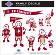 Florida St. Seminoles Large Family Decal Set - Show off your team pride with our Florida St. Seminoles family automotive decals. The set includes 9 individual family themed decals that each feature the Florida State Seminoles logo. The large characters are a full 6 inches tall! The 11 x 11 inch decal set is made of outdoor rated, repositionable vinyl for durability and easy application. Thank you for shopping with CrazedOutSports.com