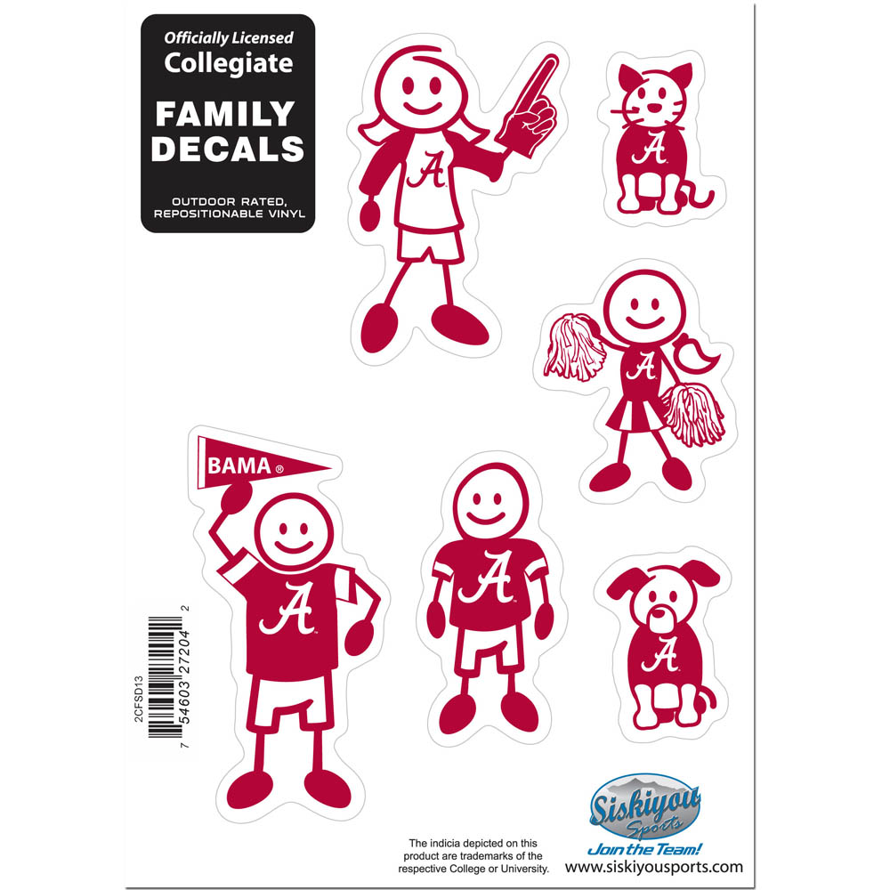 Alabama Crimson Tide Family Decal Set Small - Show off your team pride with our Alabama Crimson Tide family automotive decals. The set includes 6 individual family themed decals that each feature the team logo. The 5 x 7 inch decal set is made of outdoor rated, repositionable vinyl for durability and easy application.