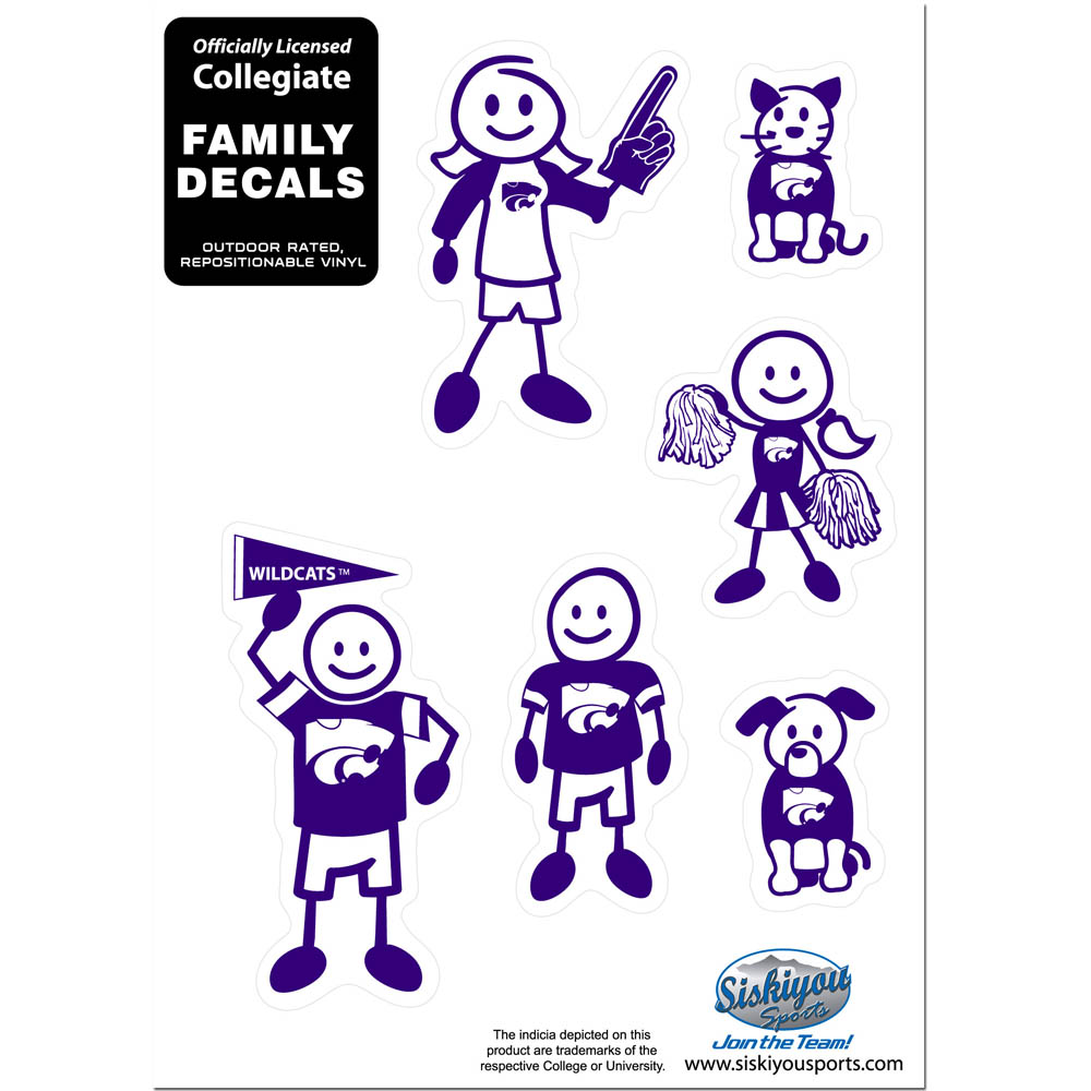 Kansas St. Wildcats Family Decal Set Small - Show off your team pride with our Kansas St. Wildcats family automotive decals. The set includes 6 individual family themed decals that each feature the team logo. The 5 x 7 inch decal set is made of outdoor rated, repositionable vinyl for durability and easy application.